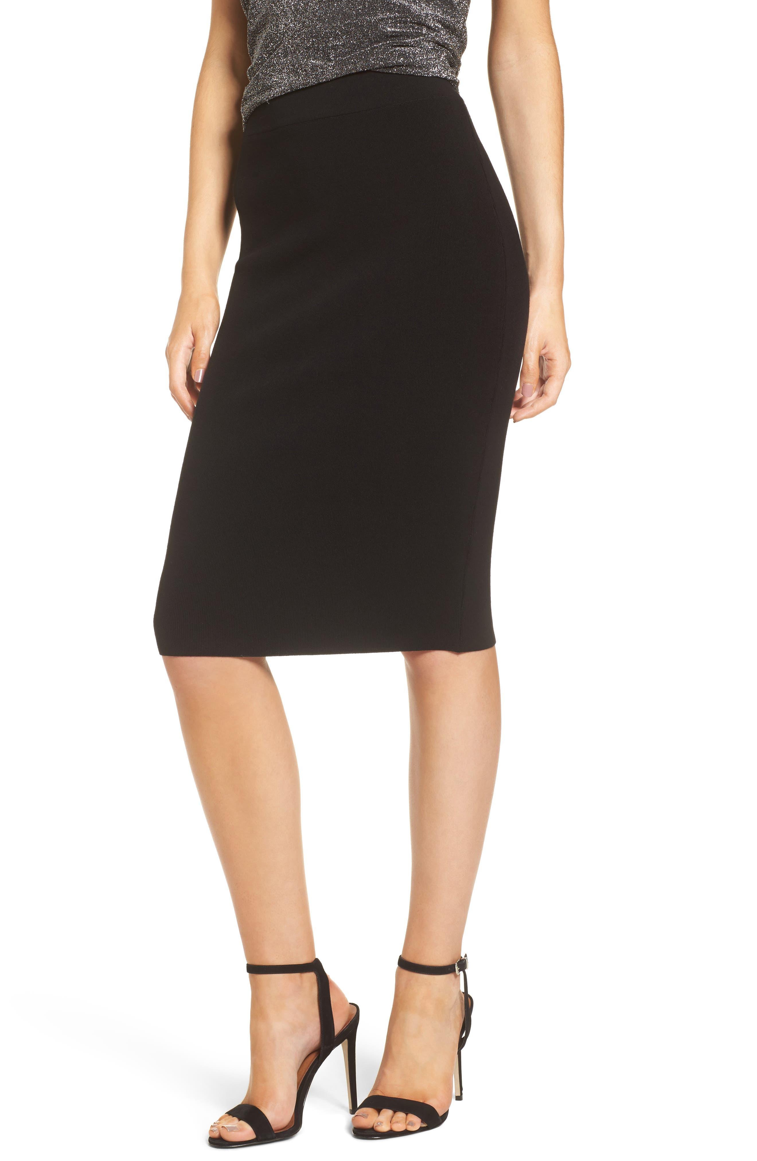 High Waist Body-Con Skirt,                         Main,                         color, BLACK