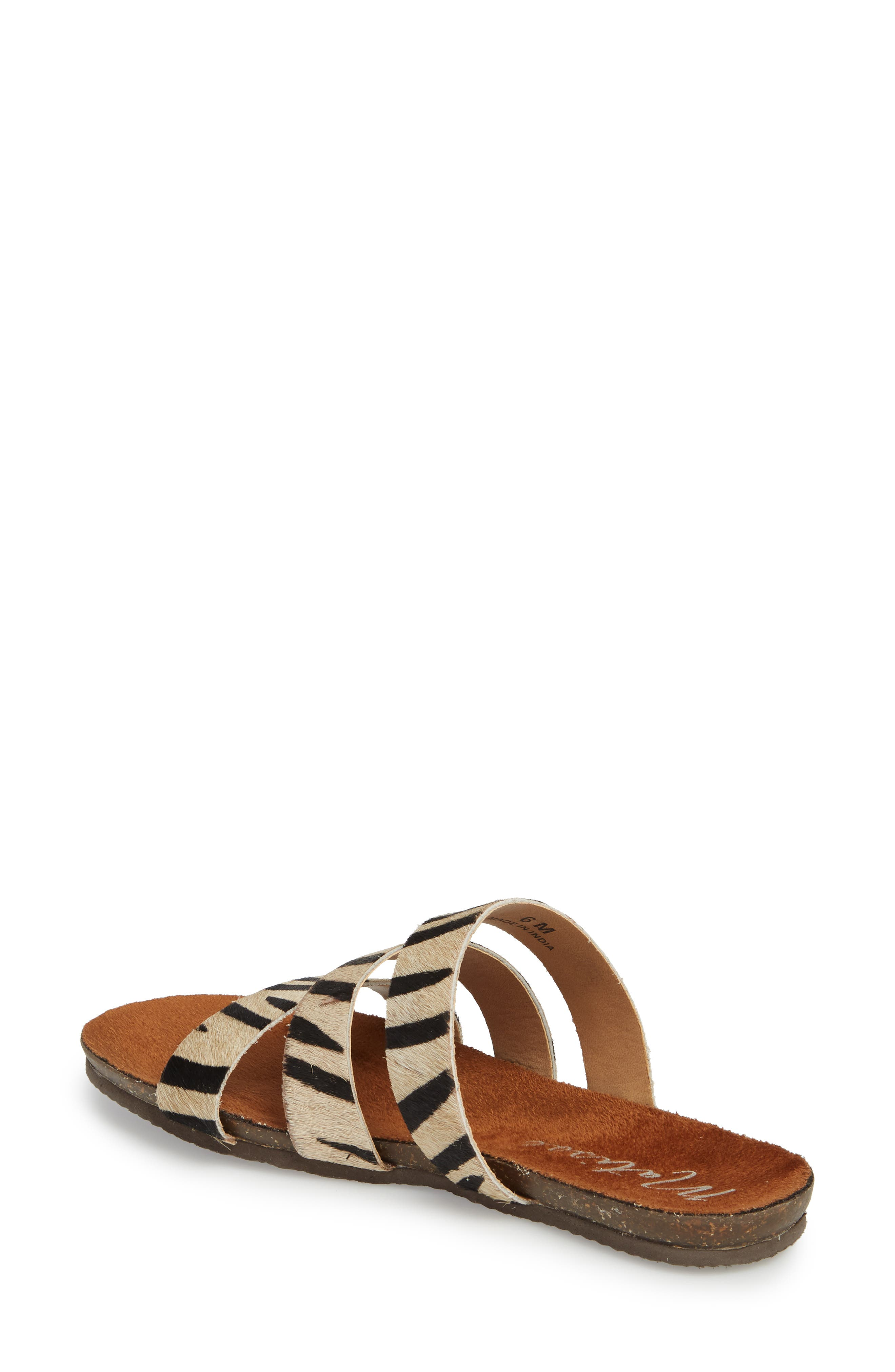 Florence Slide Sandal,                             Alternate thumbnail 2, color,                             ZEBRA CALF HAIR