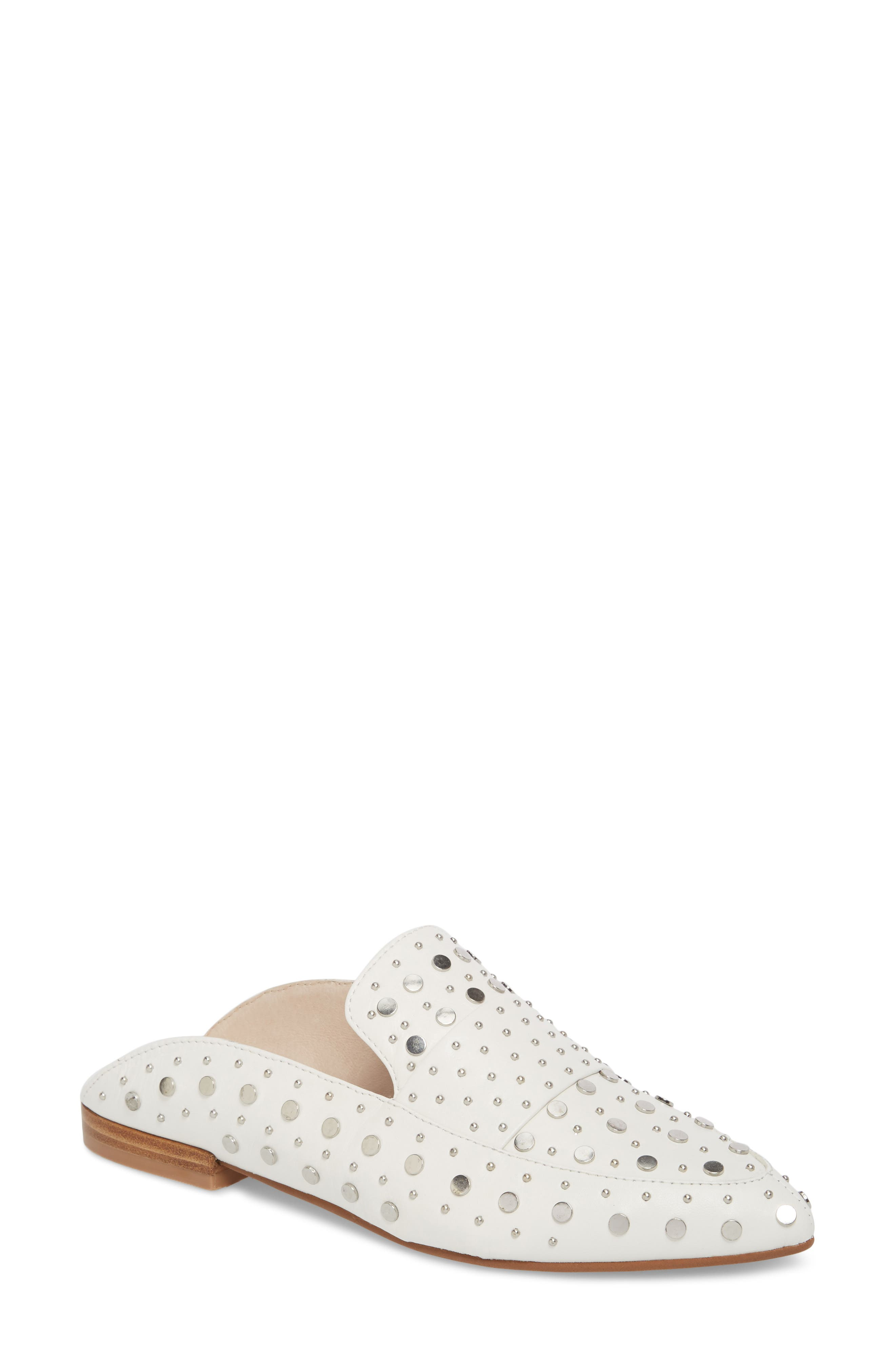 Charlie Studded Loafer Mule,                         Main,                         color, WHITE LEATHER