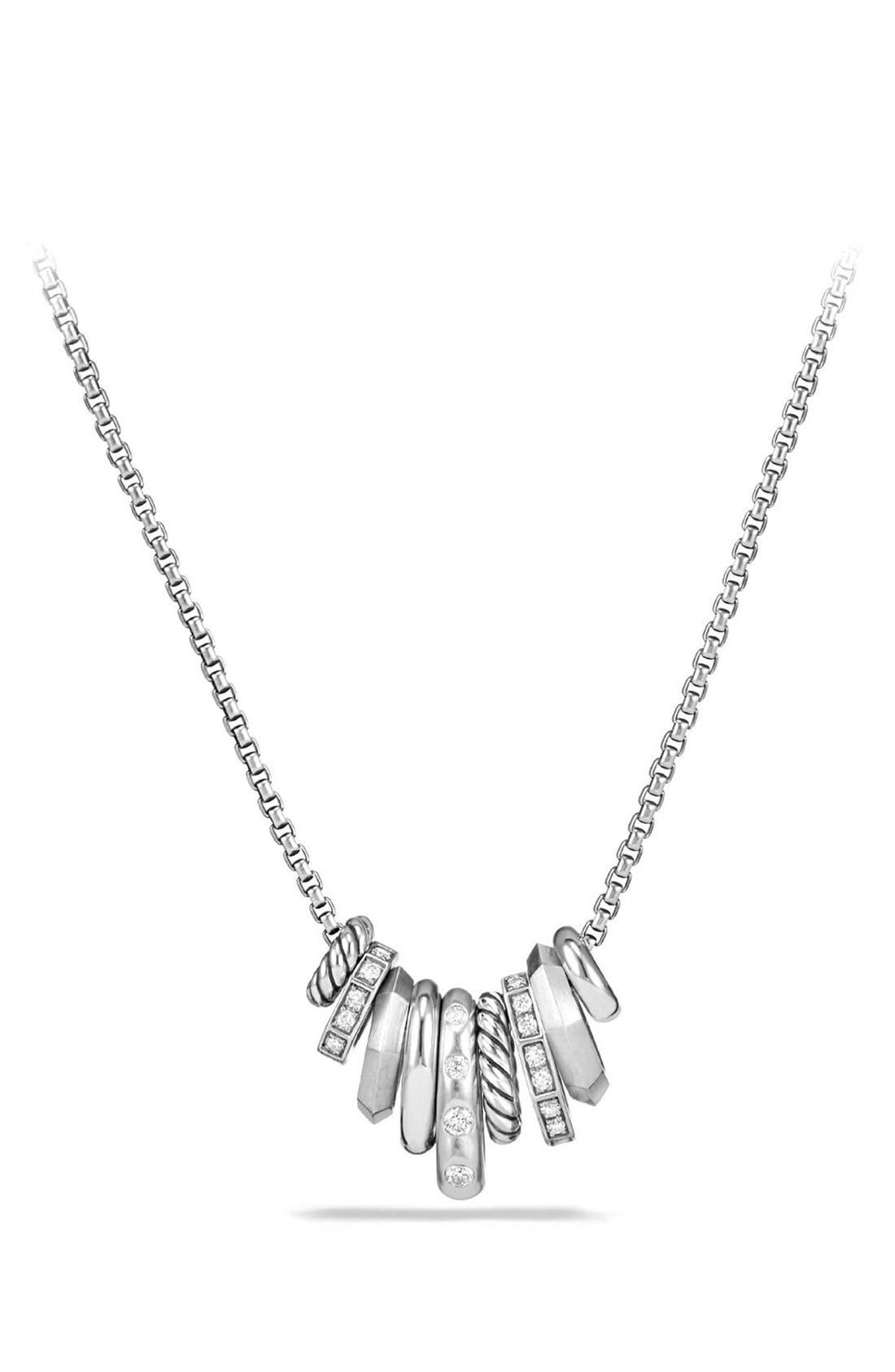 'Stax' Small Pendant Necklace with Diamonds,                         Main,                         color, SILVER