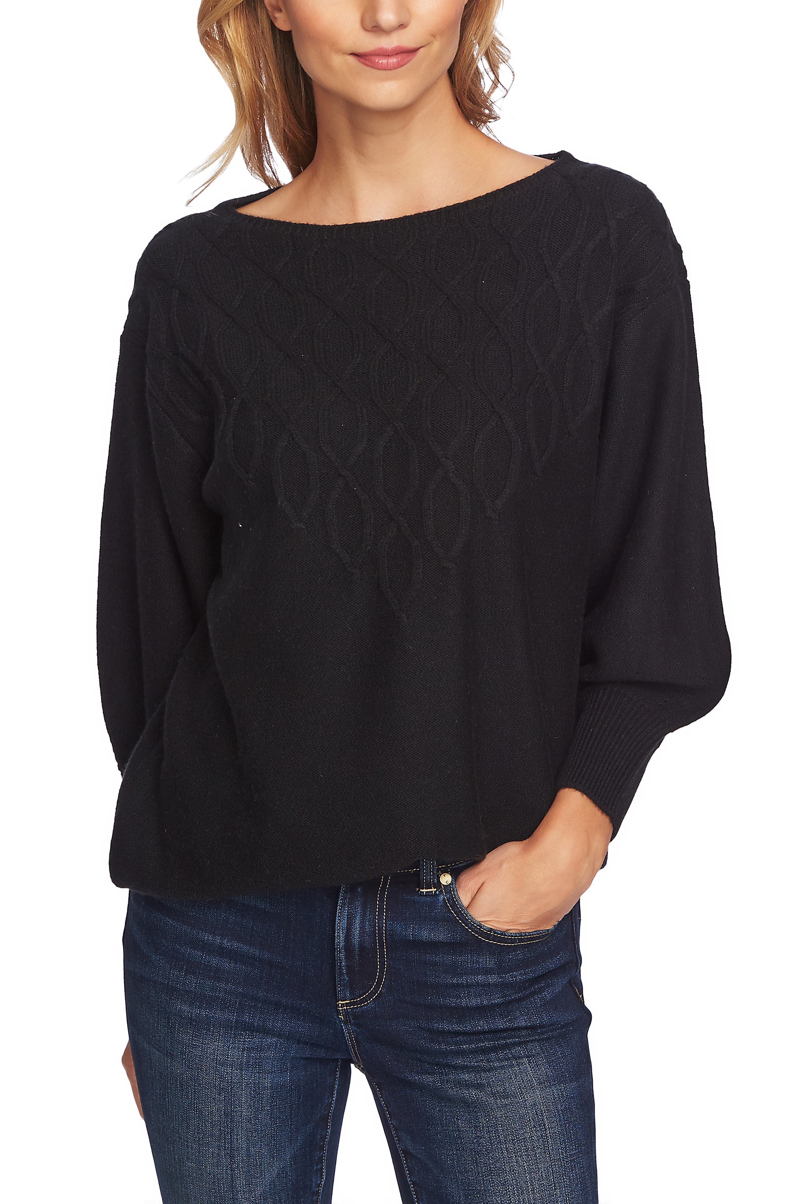 Stepped Cable Sweater,                             Alternate thumbnail 3, color,                             RICH BLACK