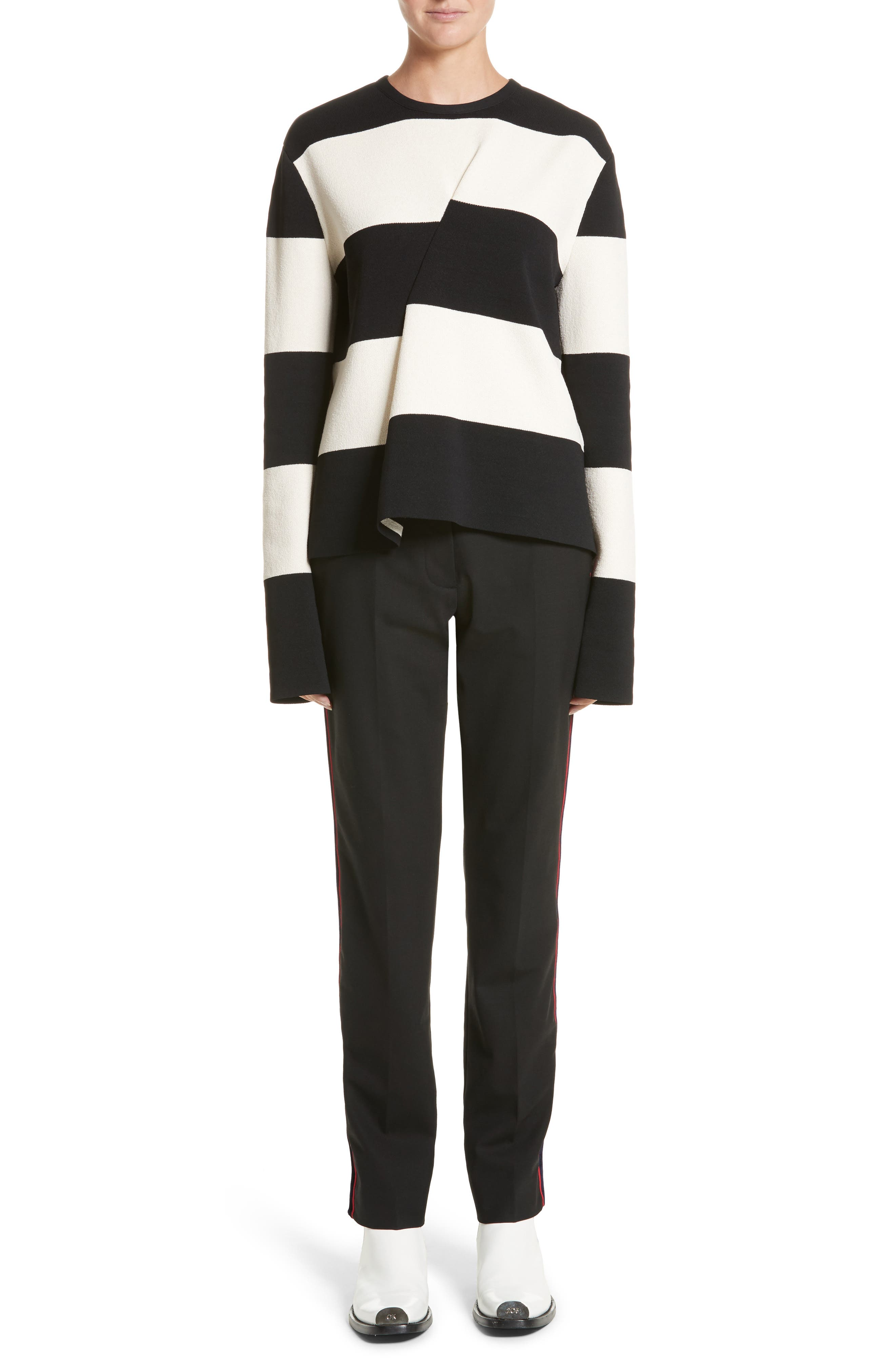 Folded Stripe Sweater,                             Alternate thumbnail 7, color,                             001