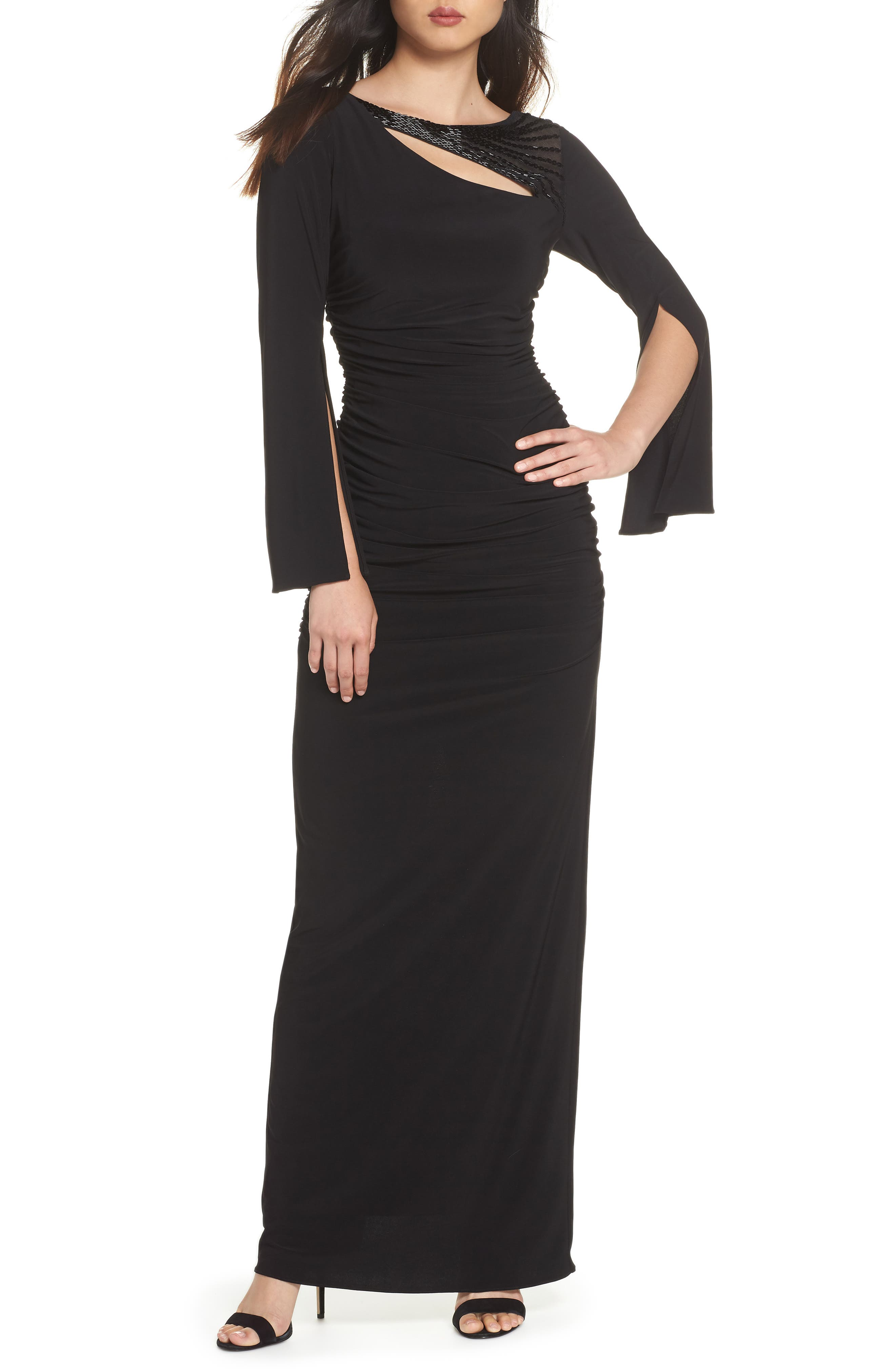 Jersey Gown,                             Main thumbnail 1, color,                             BLACK
