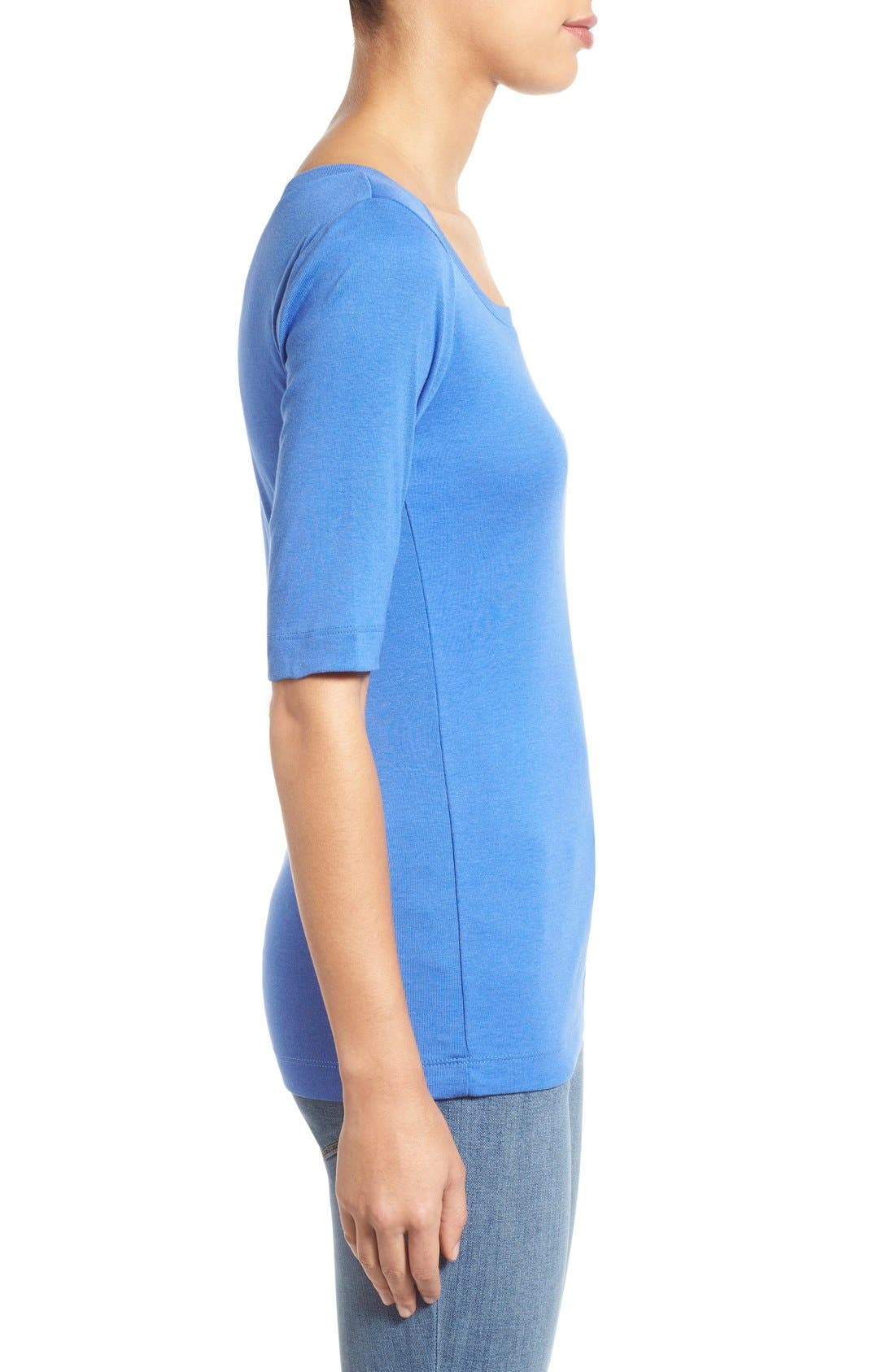 Ballet Neck Cotton & Modal Knit Elbow Sleeve Tee,                             Alternate thumbnail 135, color,