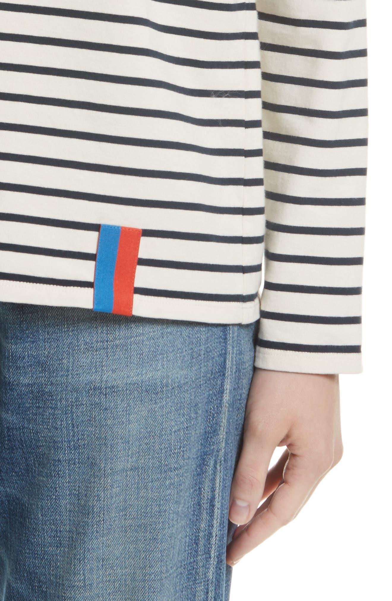 The Boyfriend Stripe Cotton Tee,                             Alternate thumbnail 4, color,                             CREAM/ NAVY