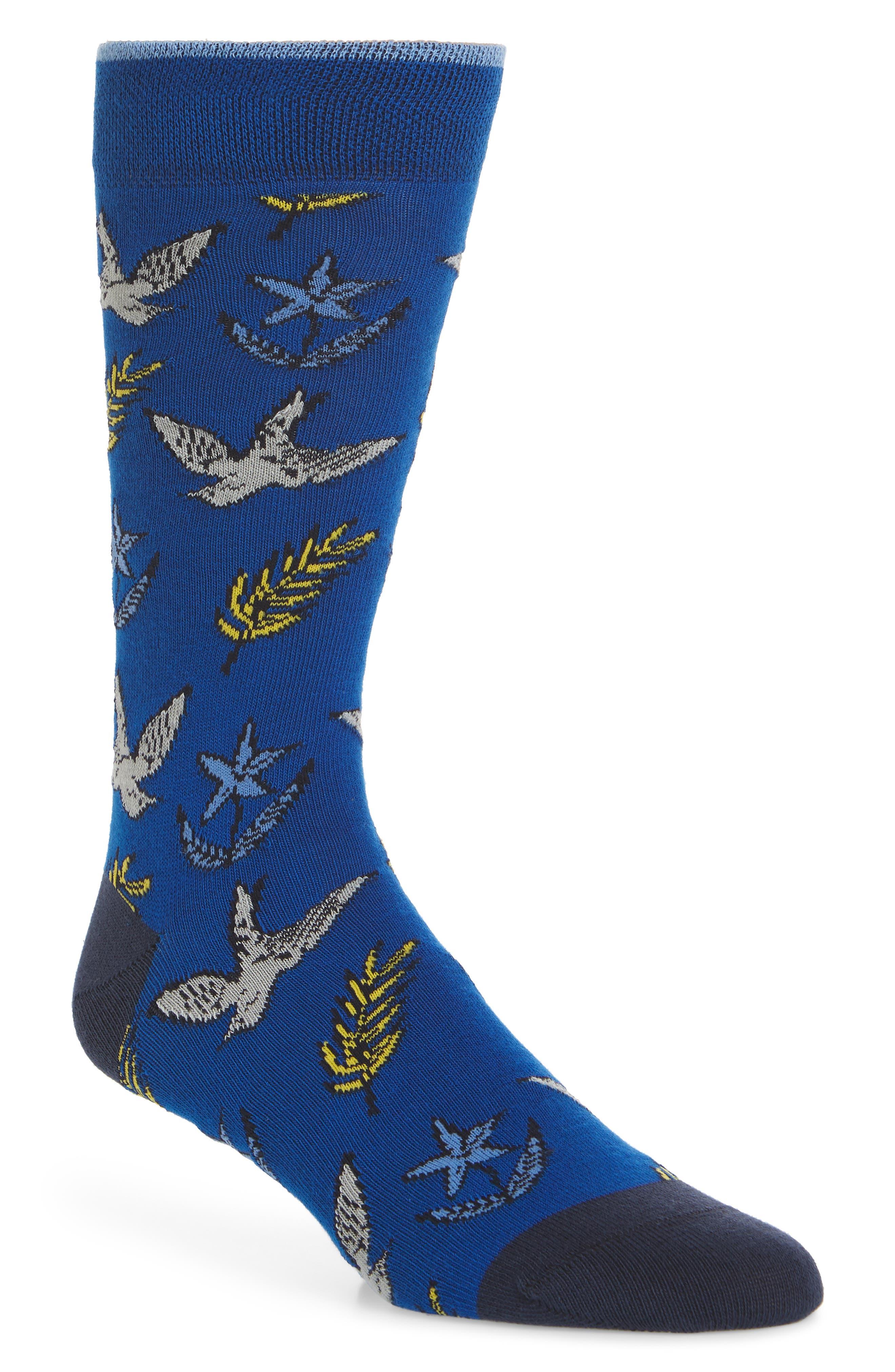 Leee Print Socks,                         Main,                         color, BRIGHT BLUE