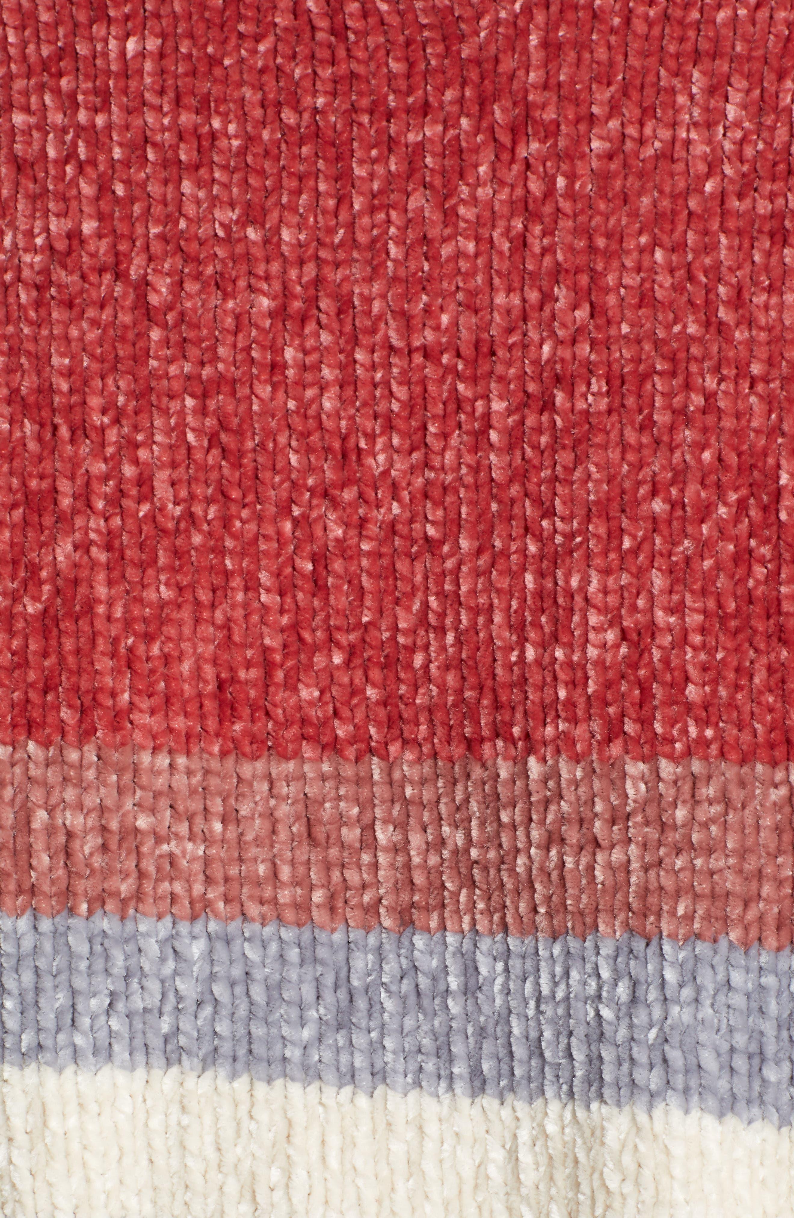 Stripe Chenille Sweater,                             Alternate thumbnail 5, color,                             PINK
