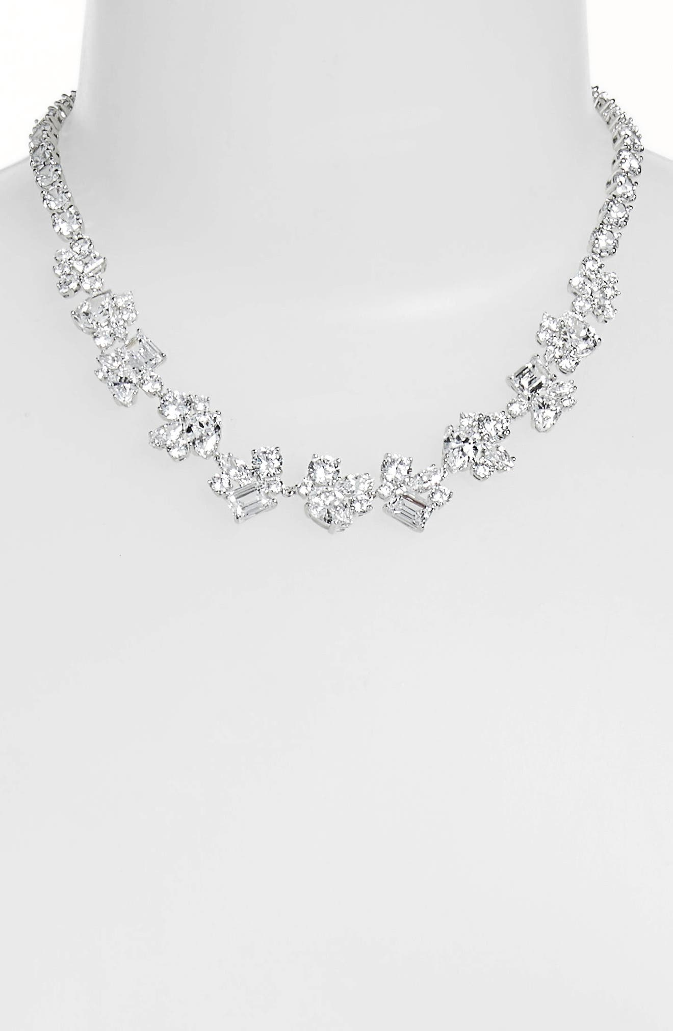 Cluster Cubic Zirconia Collar Necklace,                             Alternate thumbnail 2, color,                             CLEAR- SILVER