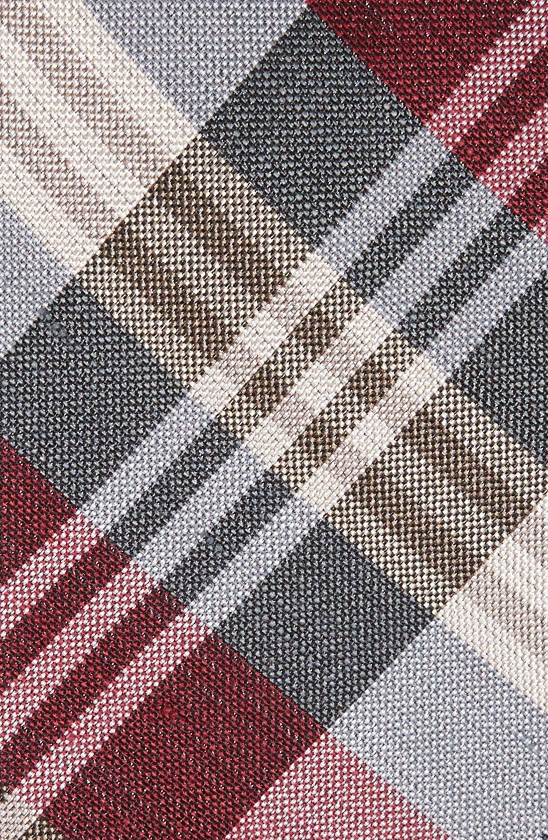 Plaid Silk & Linen Tie,                             Alternate thumbnail 2, color,                             BURGUNDY