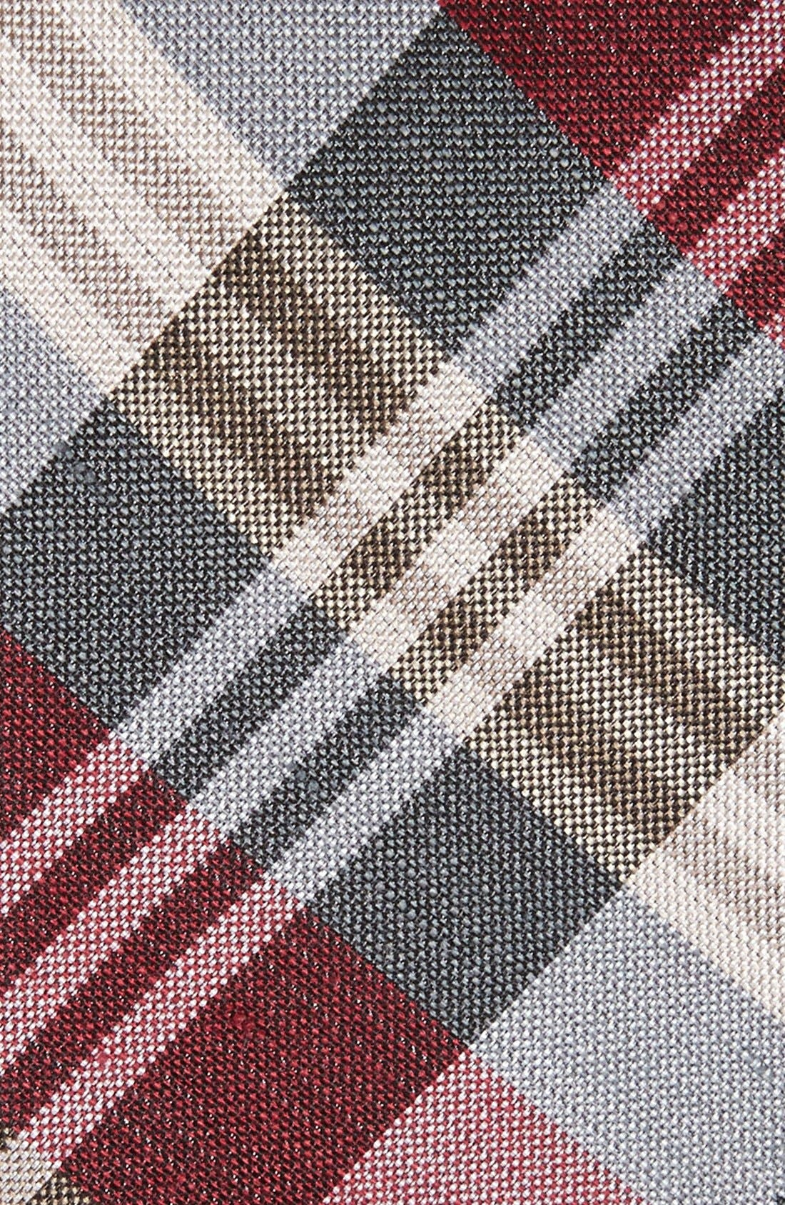 THE TIE BAR,                             Plaid Silk & Linen Tie,                             Alternate thumbnail 2, color,                             BURGUNDY