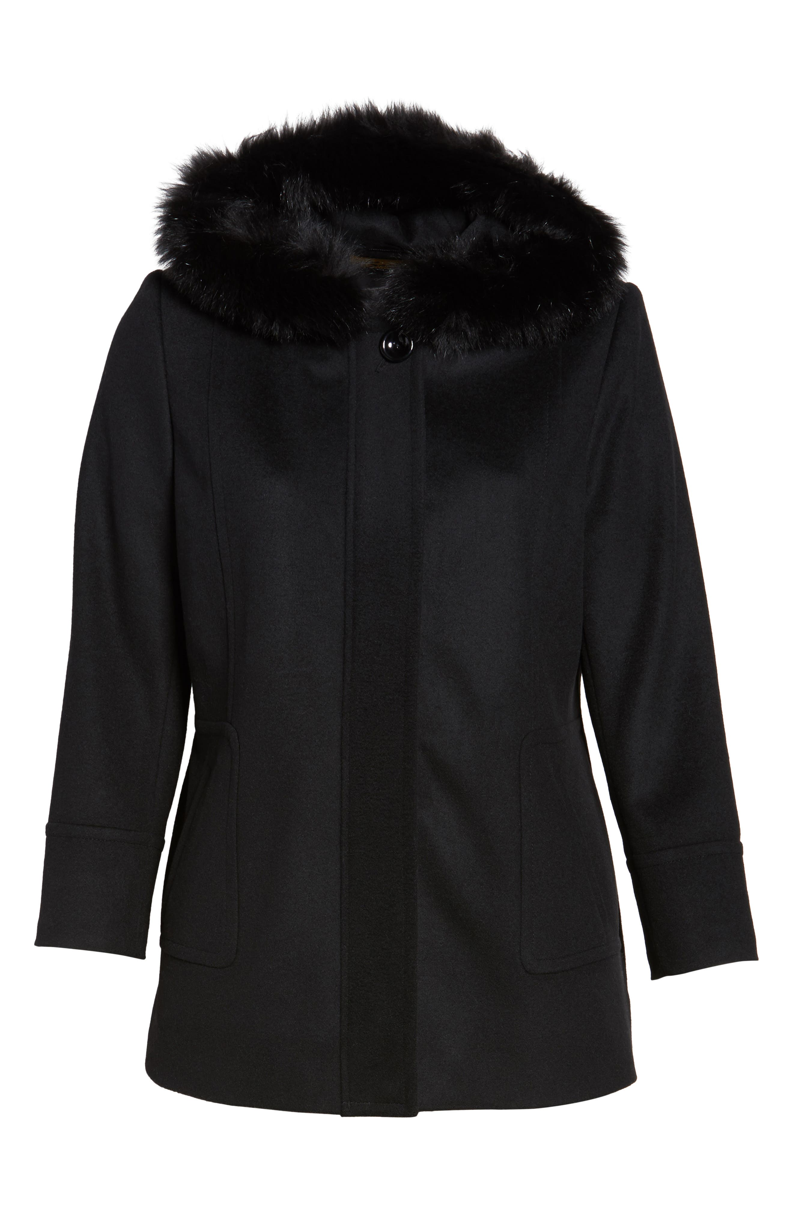 Hooded Wool Blend Coat with Genuine Fox Fur Trim,                             Alternate thumbnail 5, color,                             001