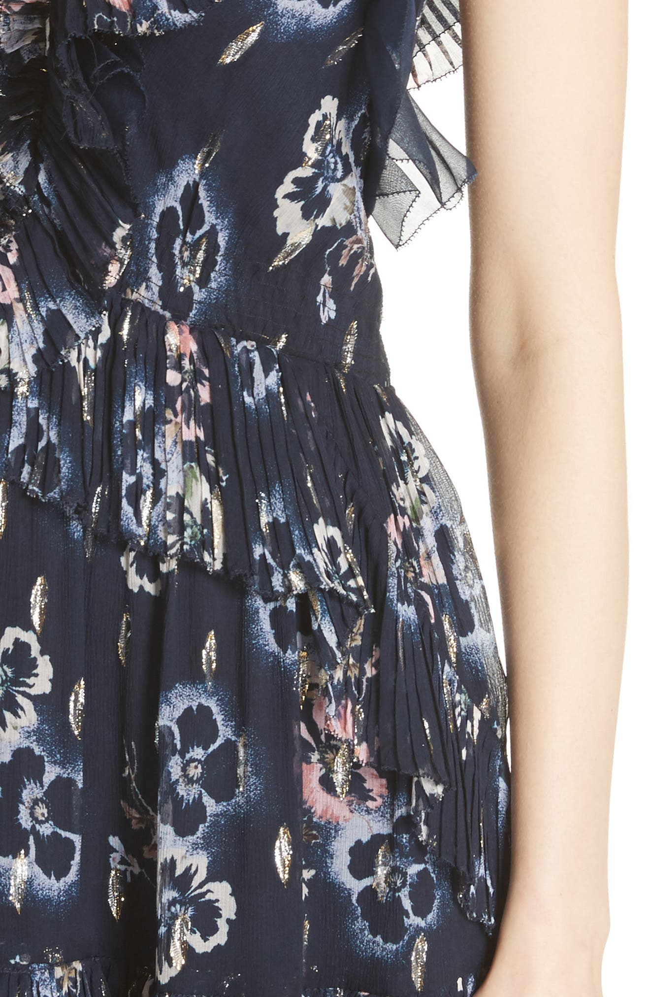 Faded Floral Fit & Flare Dress,                             Alternate thumbnail 4, color,                             NAVY