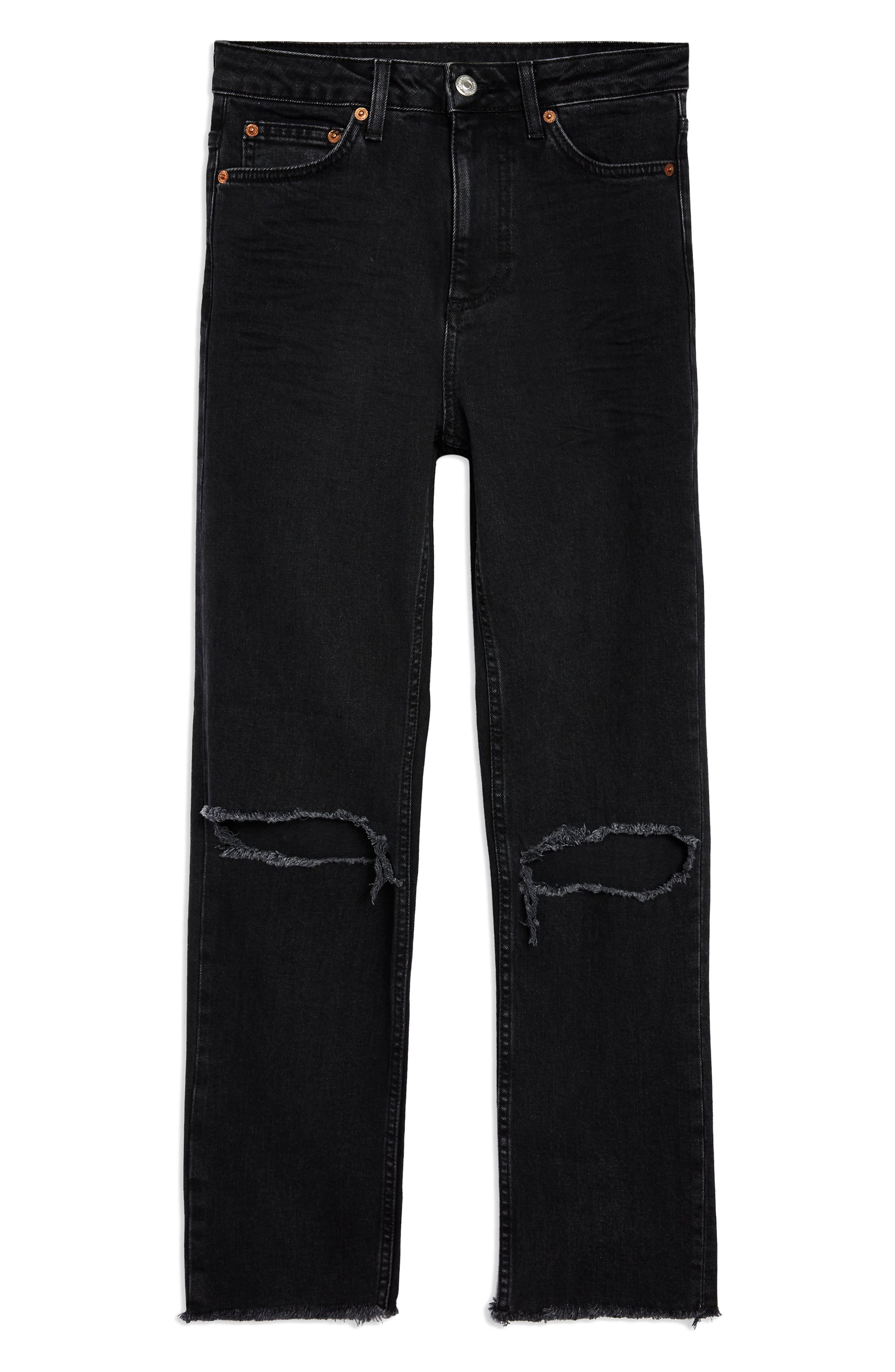TOPSHOP,                             Ripped Straight Leg Jeans,                             Alternate thumbnail 4, color,                             WASHED BLACK