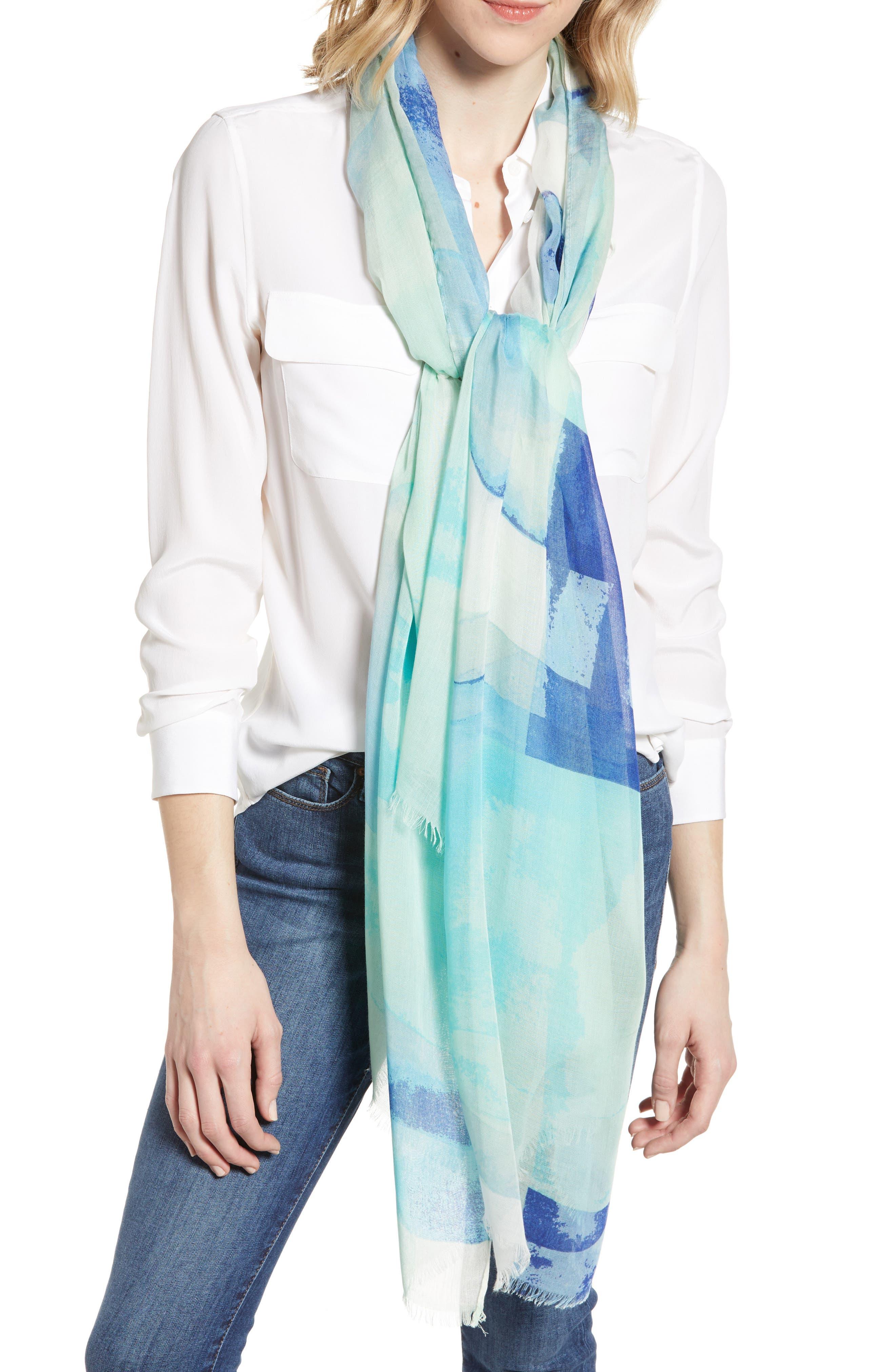 NORDSTROM Print Modal & Silk Scarf, Main, color, BLUE COLOR STONES
