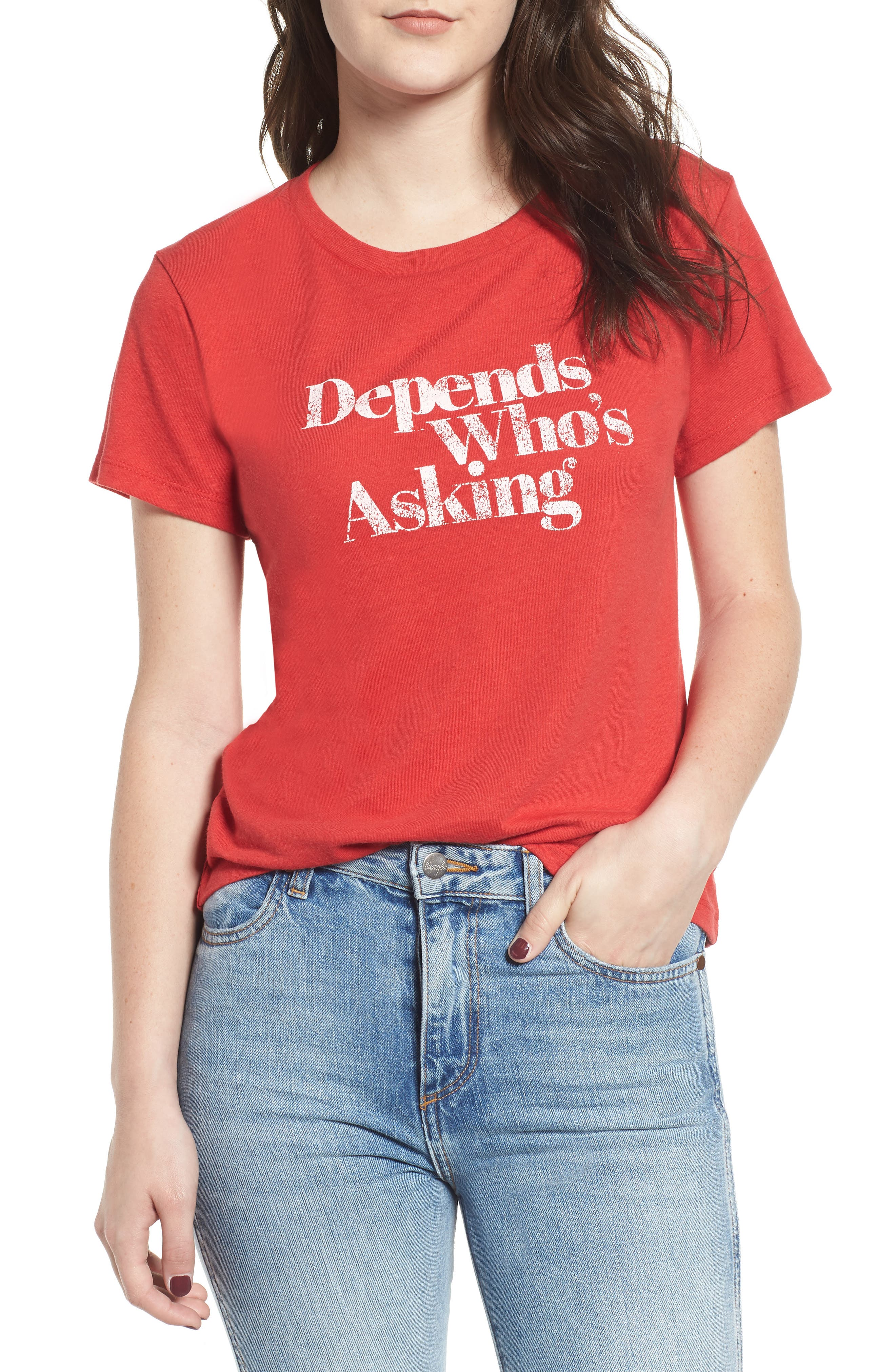 x Erin & Sara Depends Who's Asking Tee,                             Main thumbnail 1, color,                             RED
