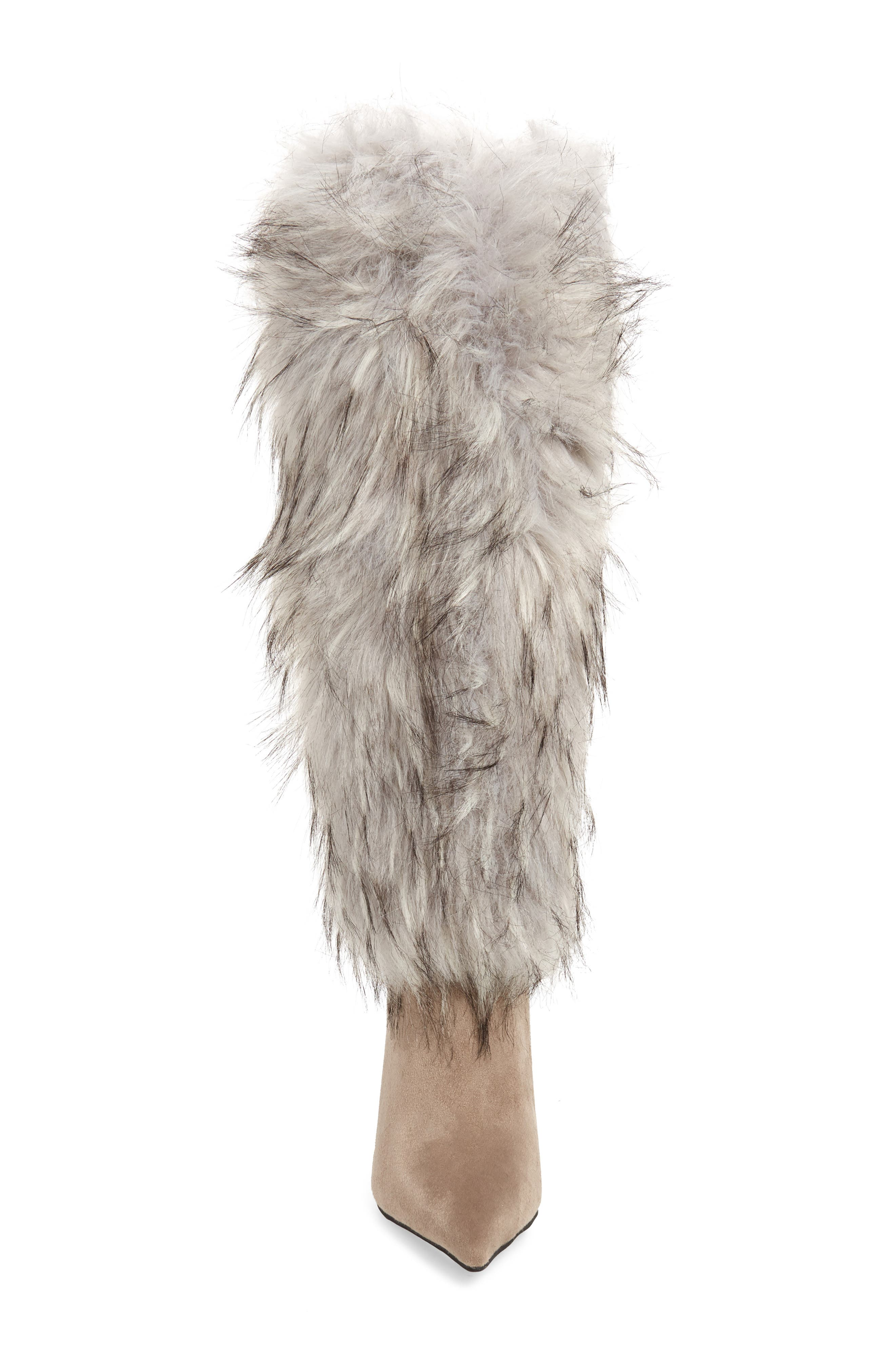 Vedet Faux Fur Knee High Boot,                             Alternate thumbnail 4, color,                             DARK TAUPE SUEDE