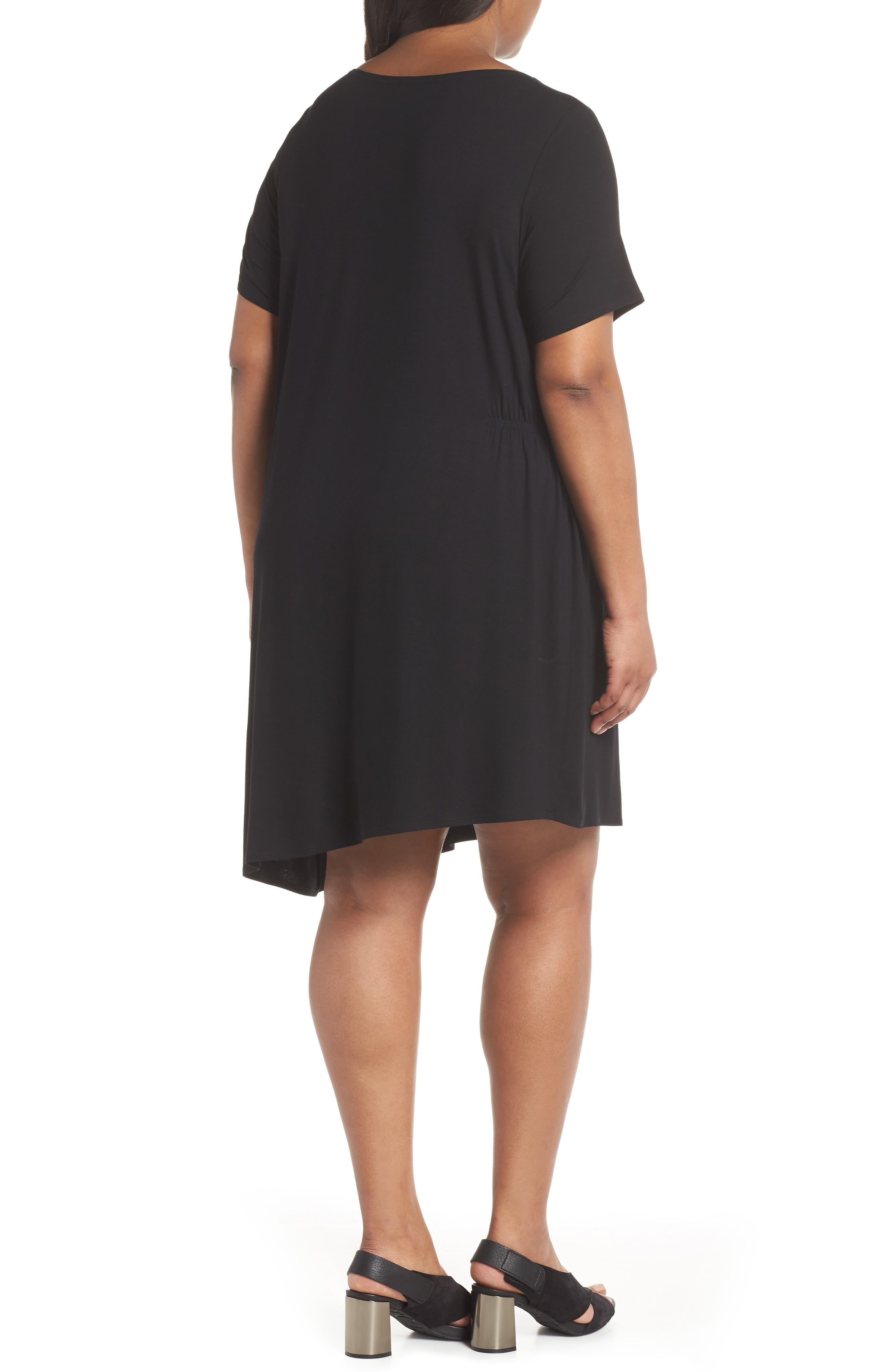 Asymmetrical Stretch Jersey Shift Dress,                             Alternate thumbnail 2, color,                             001
