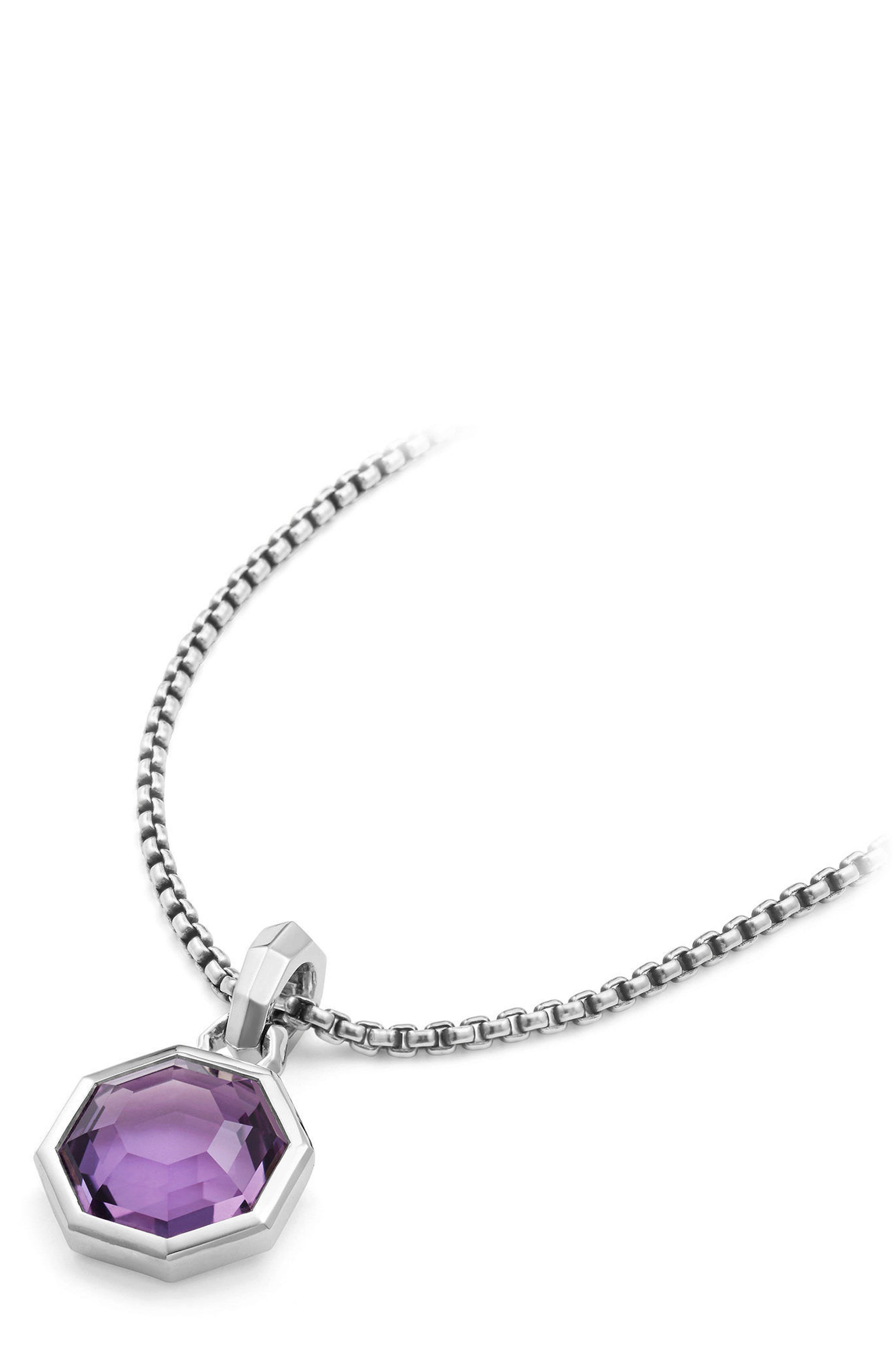 Cable Collectibles Octagon Cut Semiprecious Stone Amulet,                             Alternate thumbnail 3, color,                             AMETHYST