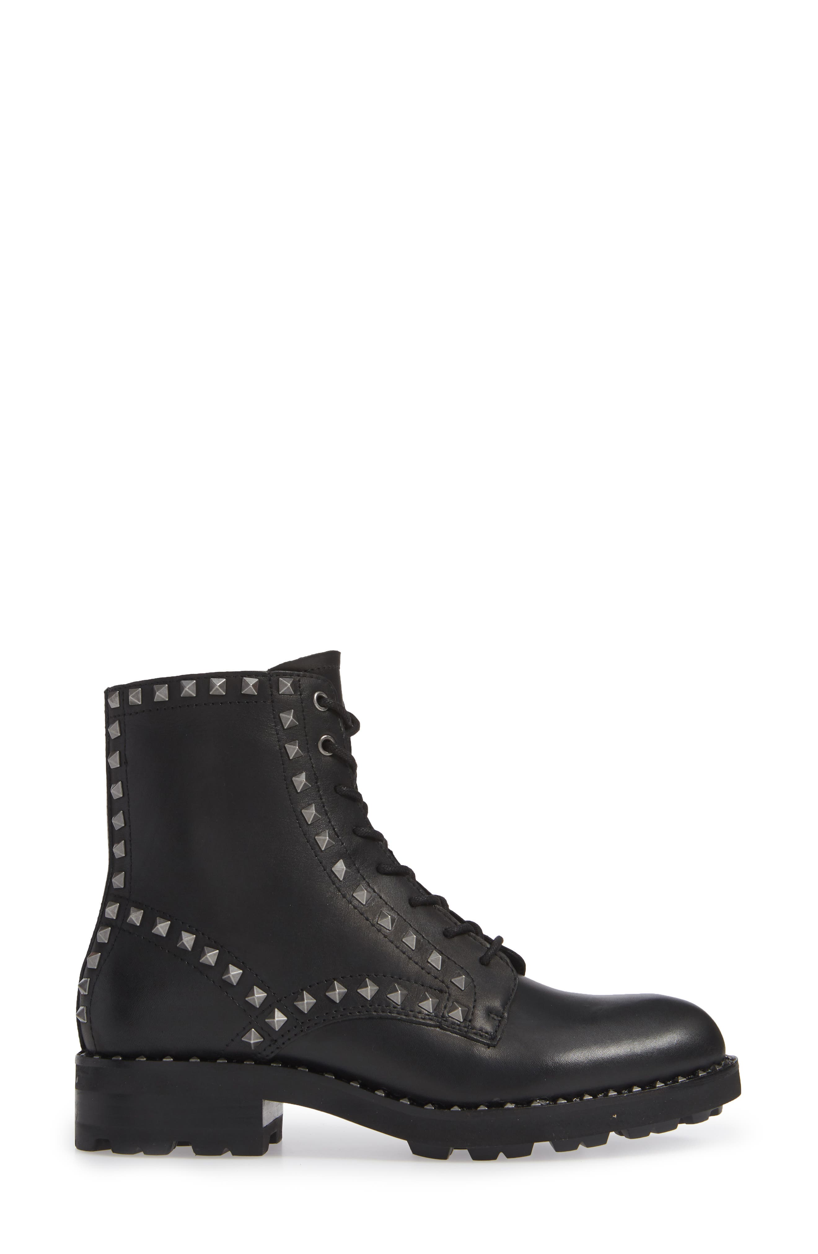 Wolf Studded Combat Boot,                             Alternate thumbnail 3, color,                             BLACK LEATHER