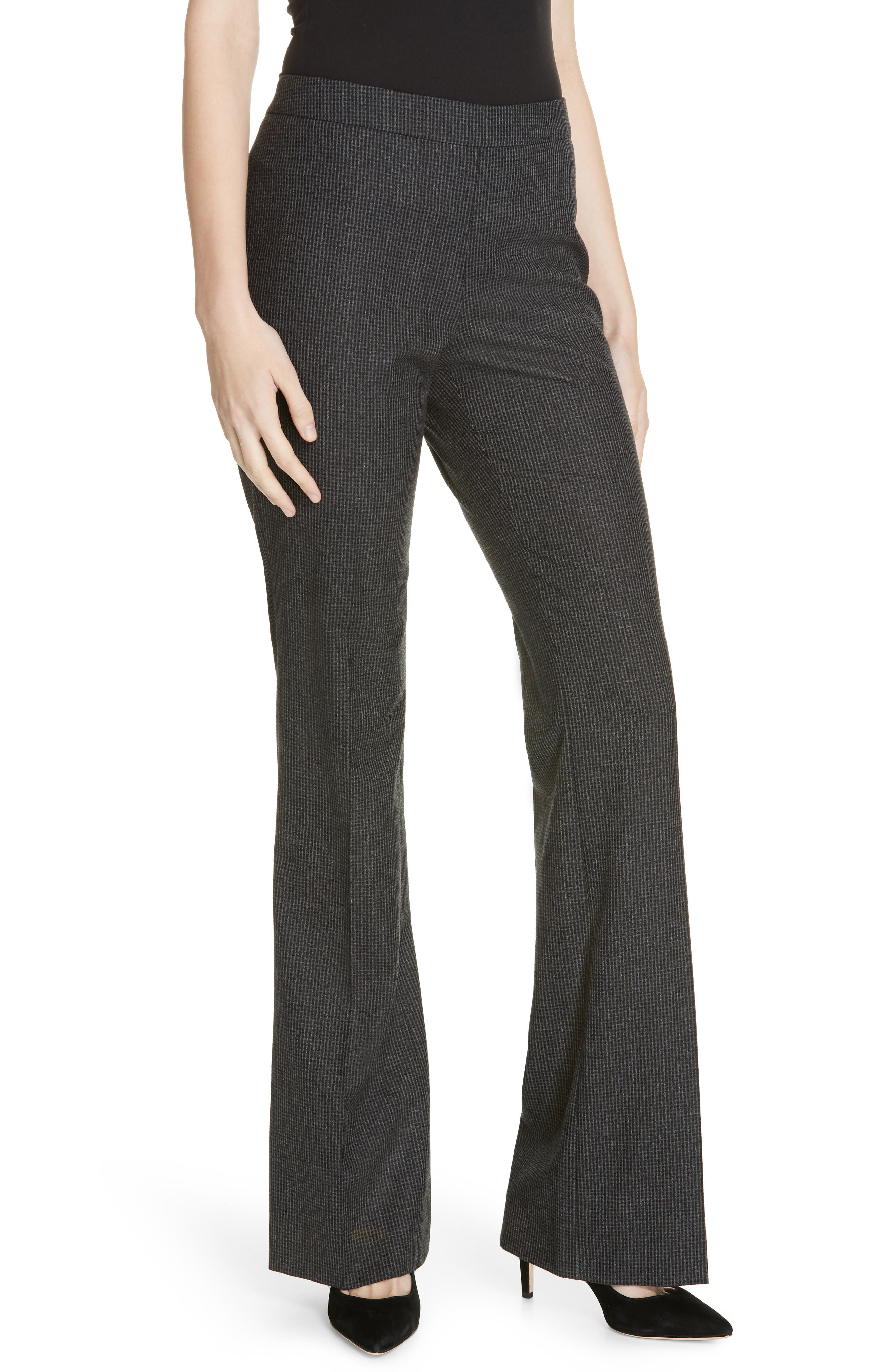 Tulea Side Zip Wool Suit Trousers in Charcoal Fantasy