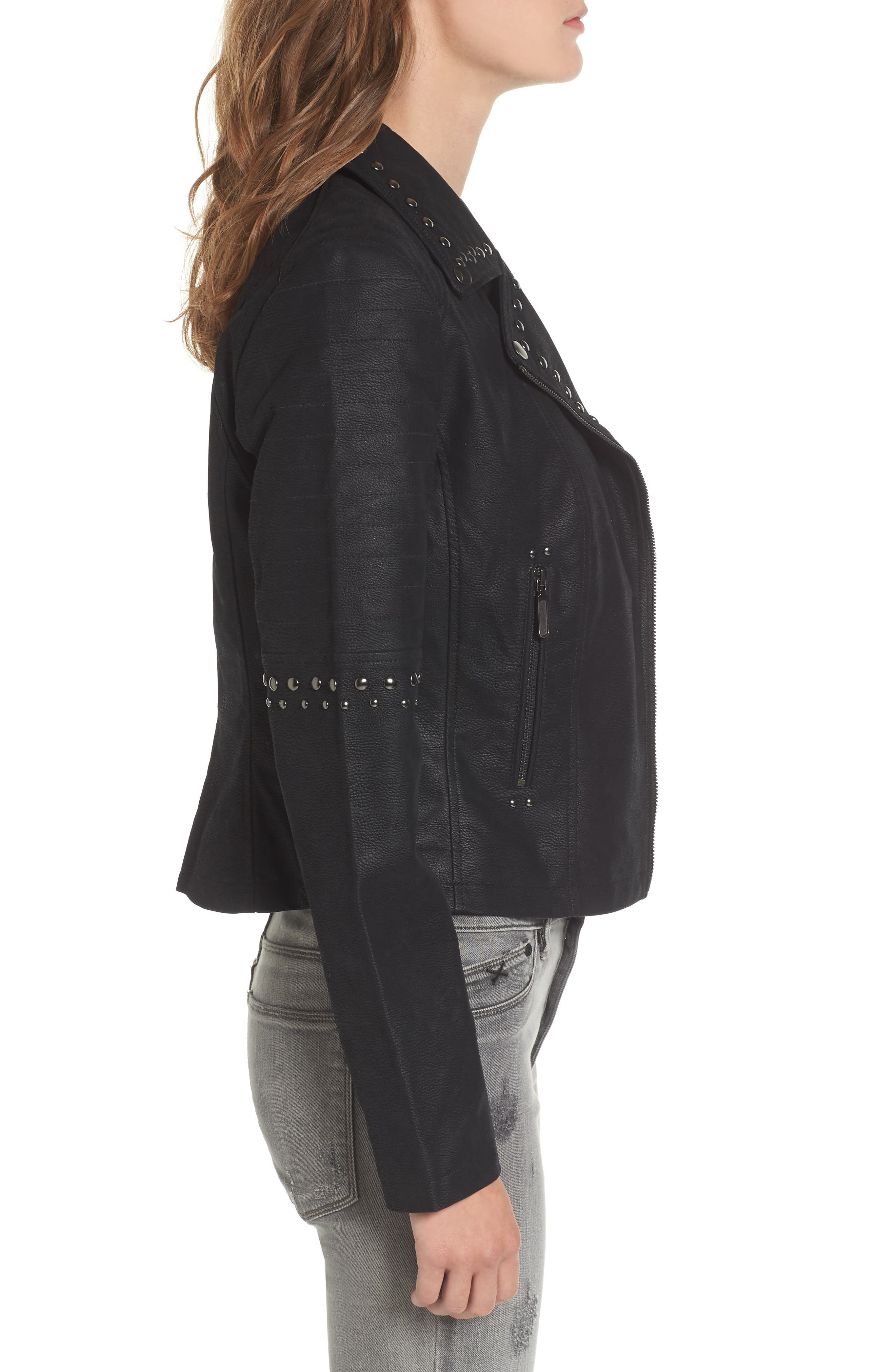 Studded Faux Leather Moto Jacket,                             Alternate thumbnail 3, color,                             001