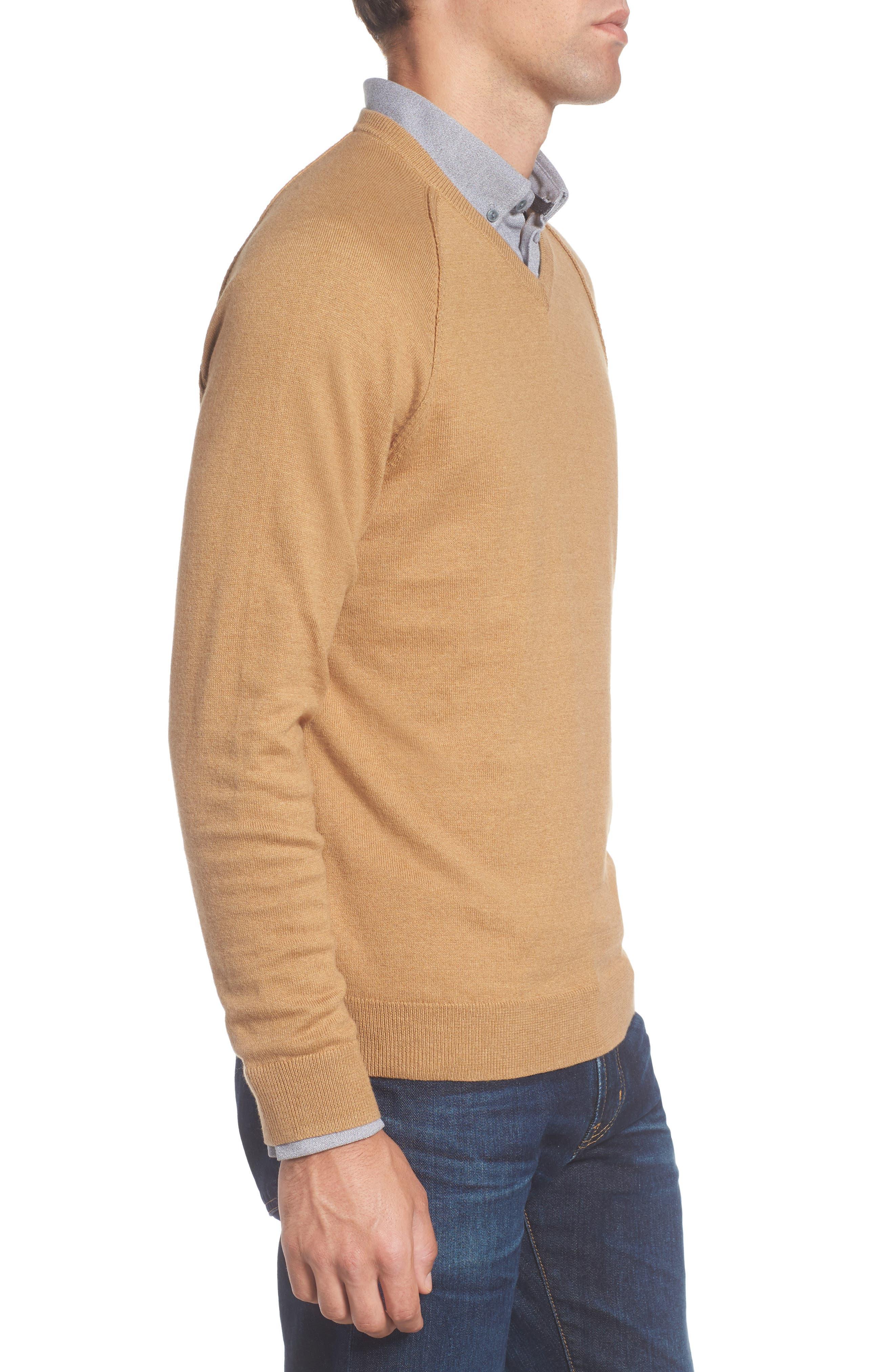 Saddle Shoulder Cotton & Cashmere V-Neck Sweater,                             Alternate thumbnail 21, color,