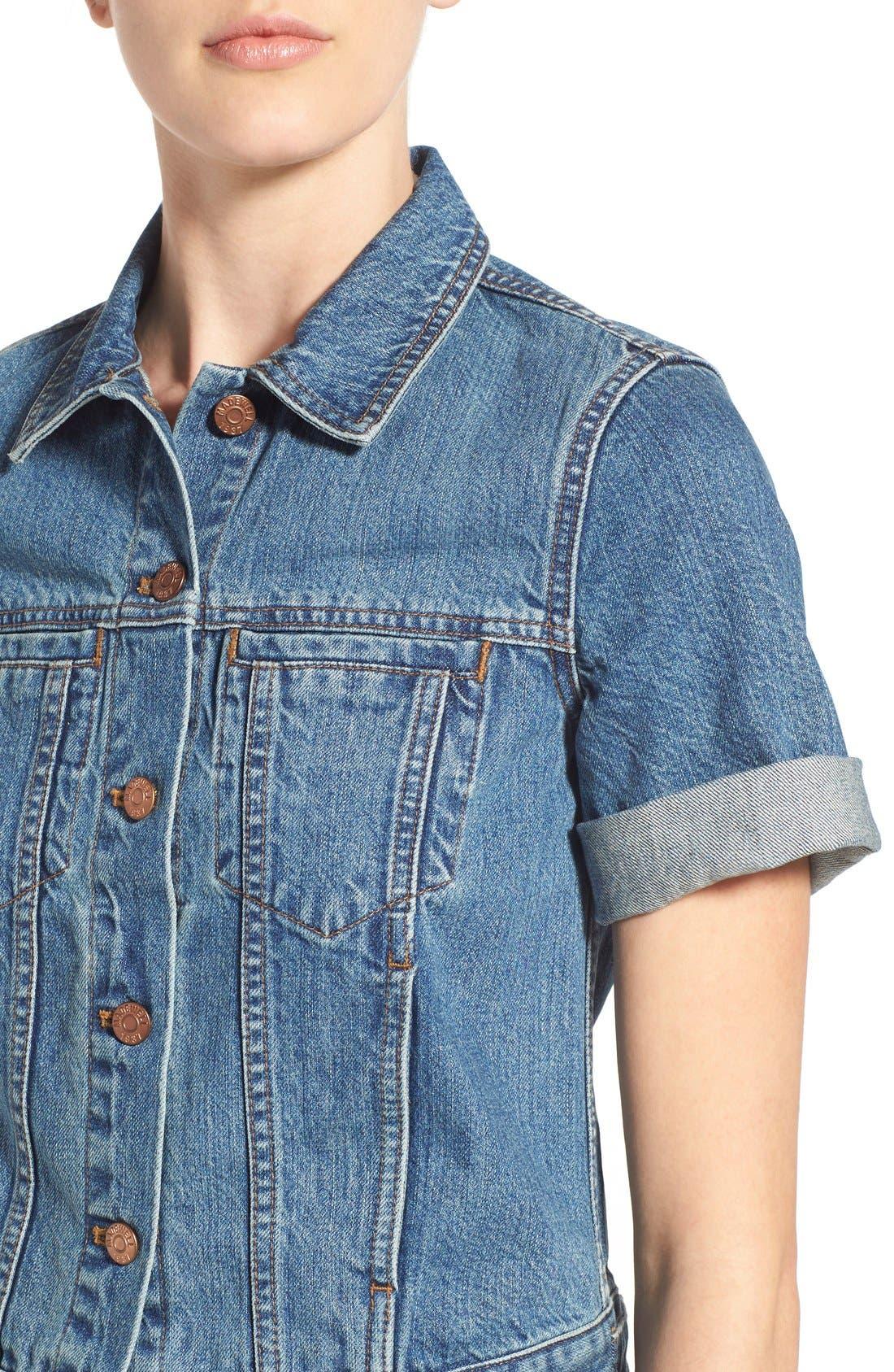 'Summer' Short Sleeve Denim Jacket,                             Alternate thumbnail 2, color,                             407