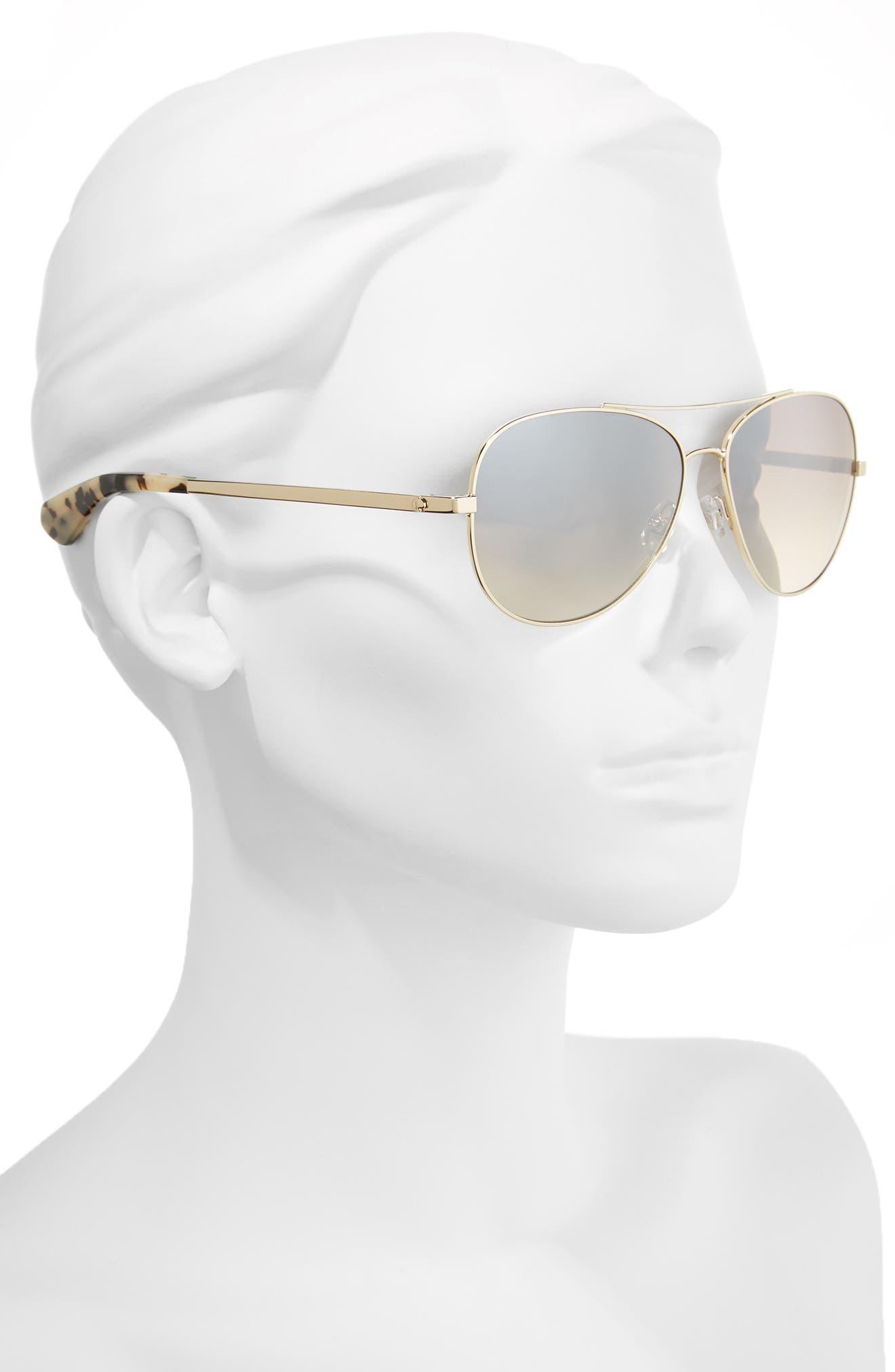 avaline 58mm aviator sunglasses,                             Alternate thumbnail 2, color,                             GOLD HAVANA