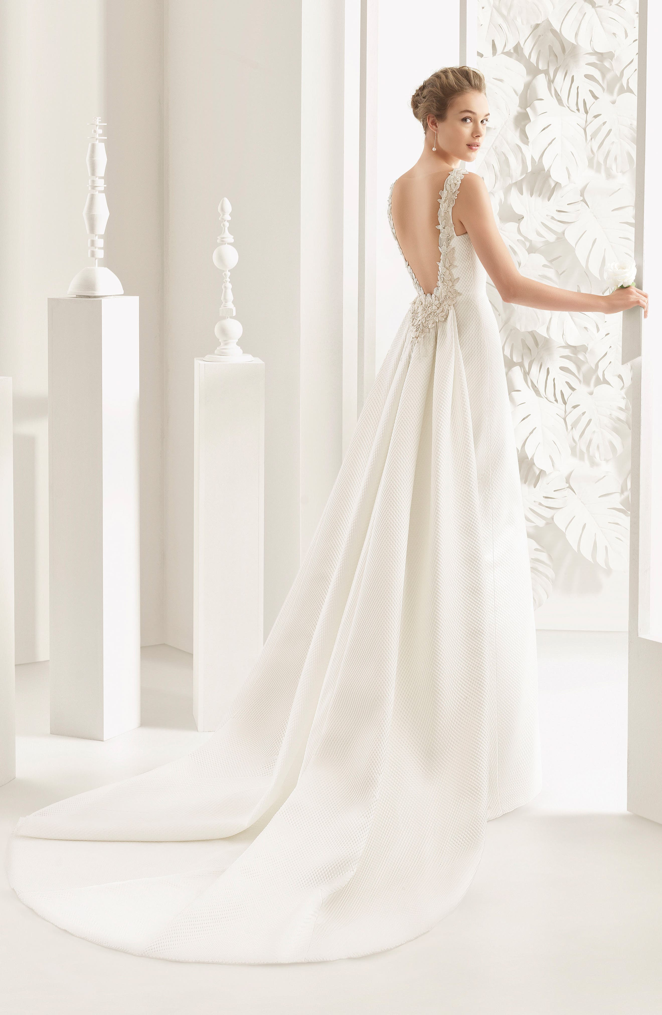 Rosa Clará Couture Navas Embellished Piqué Column Gown with Train,                             Alternate thumbnail 2, color,                             NATURAL