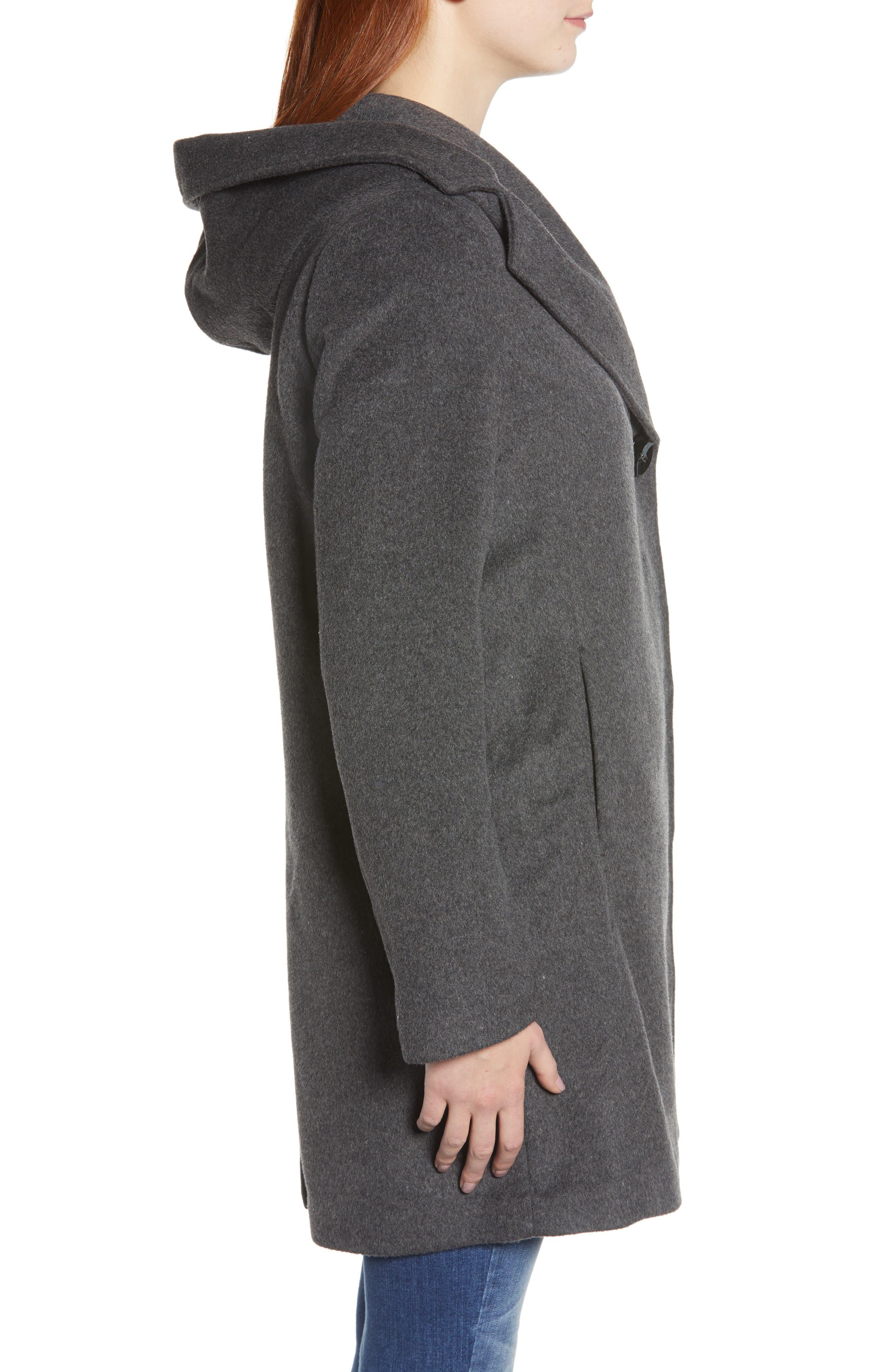 Shawl Collar Hooded Coat,                             Alternate thumbnail 3, color,                             CHARCOAL