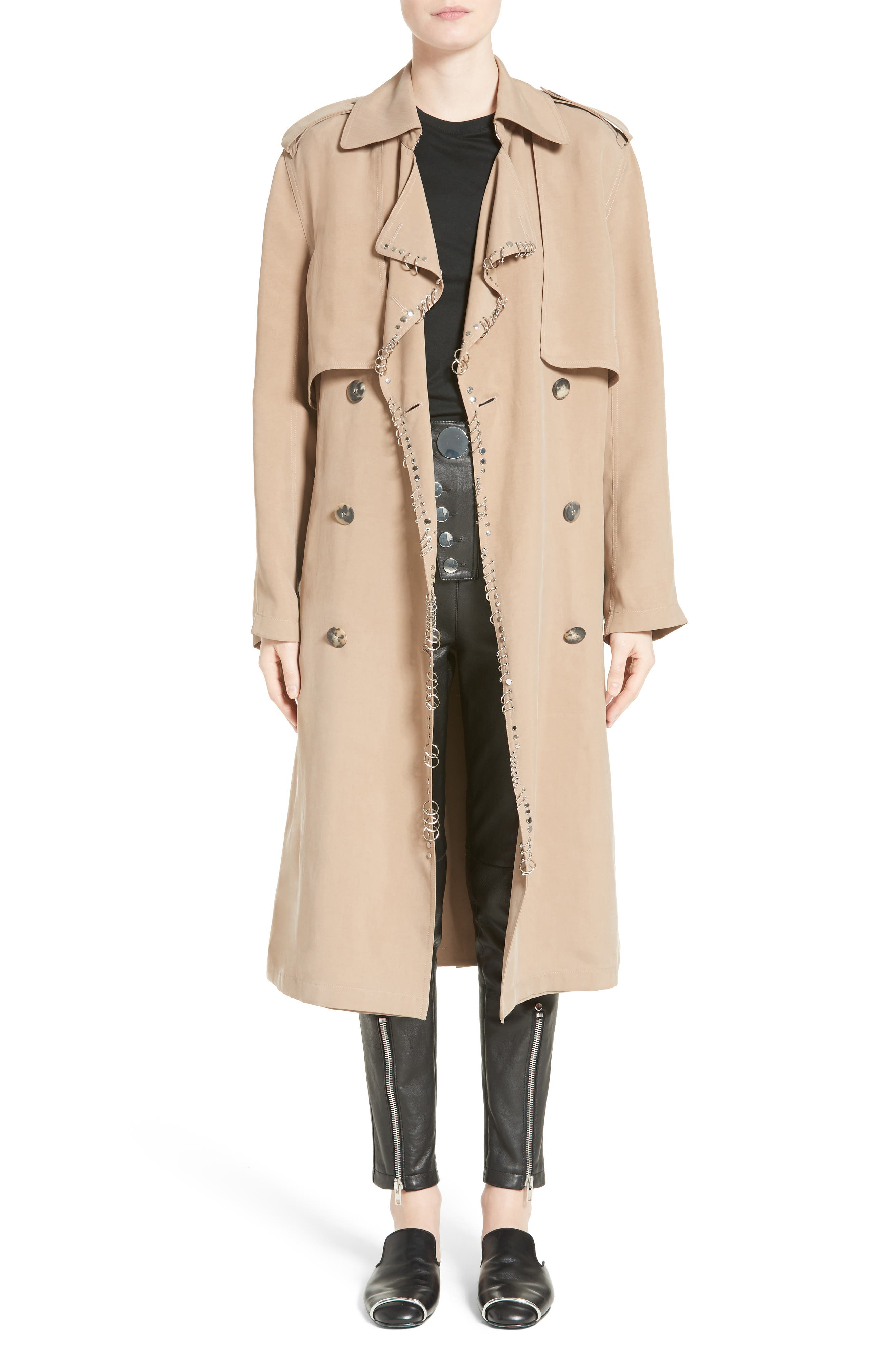 Pierced Trench Coat,                             Alternate thumbnail 7, color,                             200