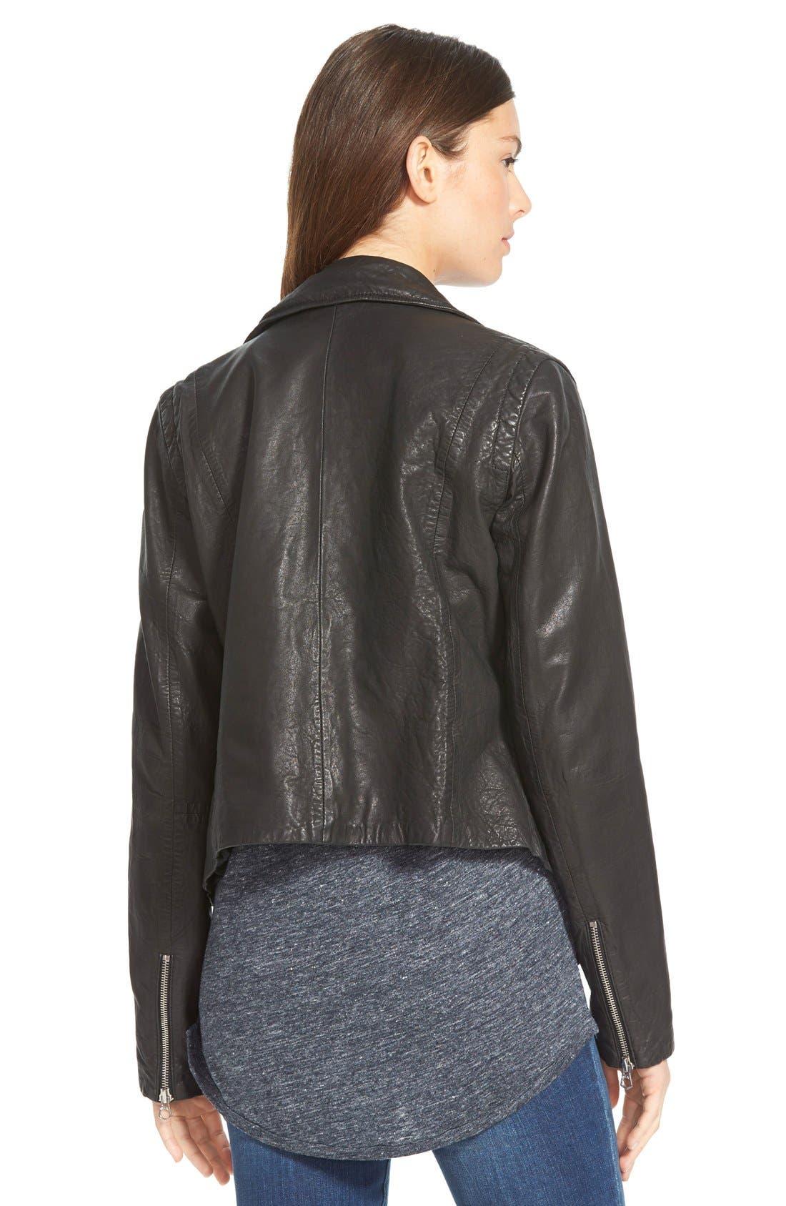 Washed Leather Moto Jacket,                             Alternate thumbnail 7, color,                             TRUE BLACK