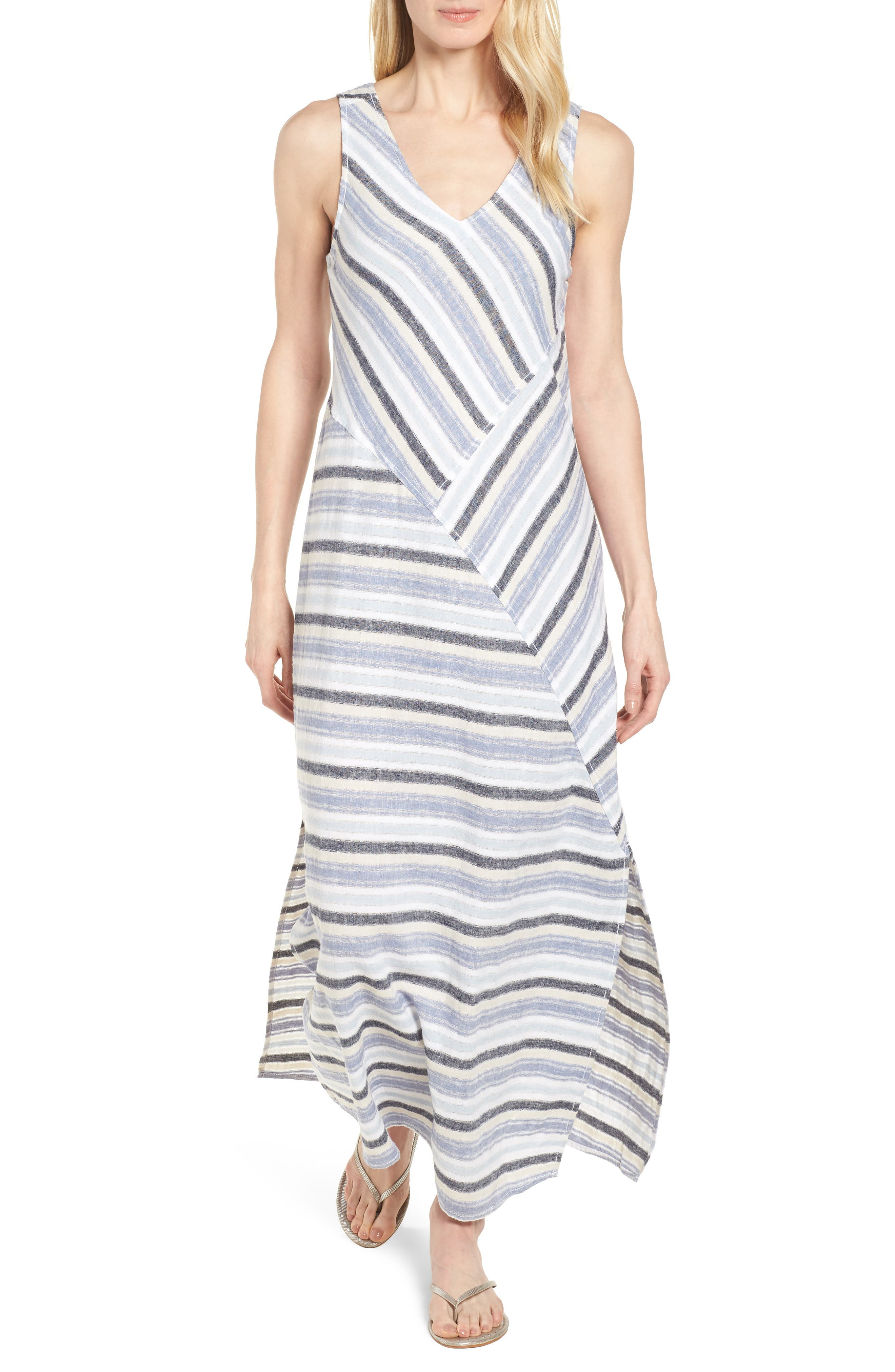 Stripe A-Line Maxi Dress,                             Main thumbnail 1, color,                             420