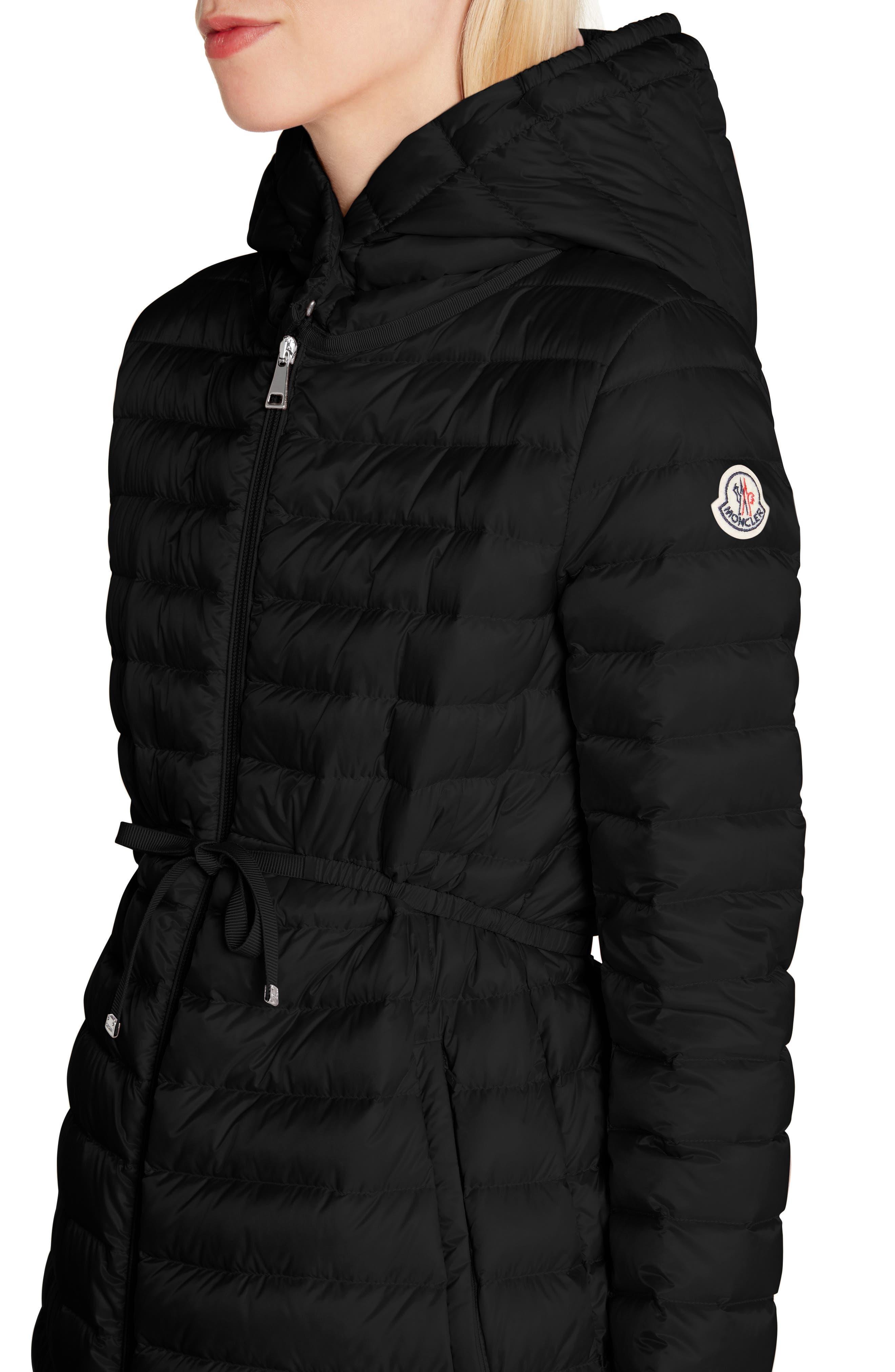 MONCLER,                             Barbel Water Resistant Long Hooded Down Jacket,                             Alternate thumbnail 4, color,                             001