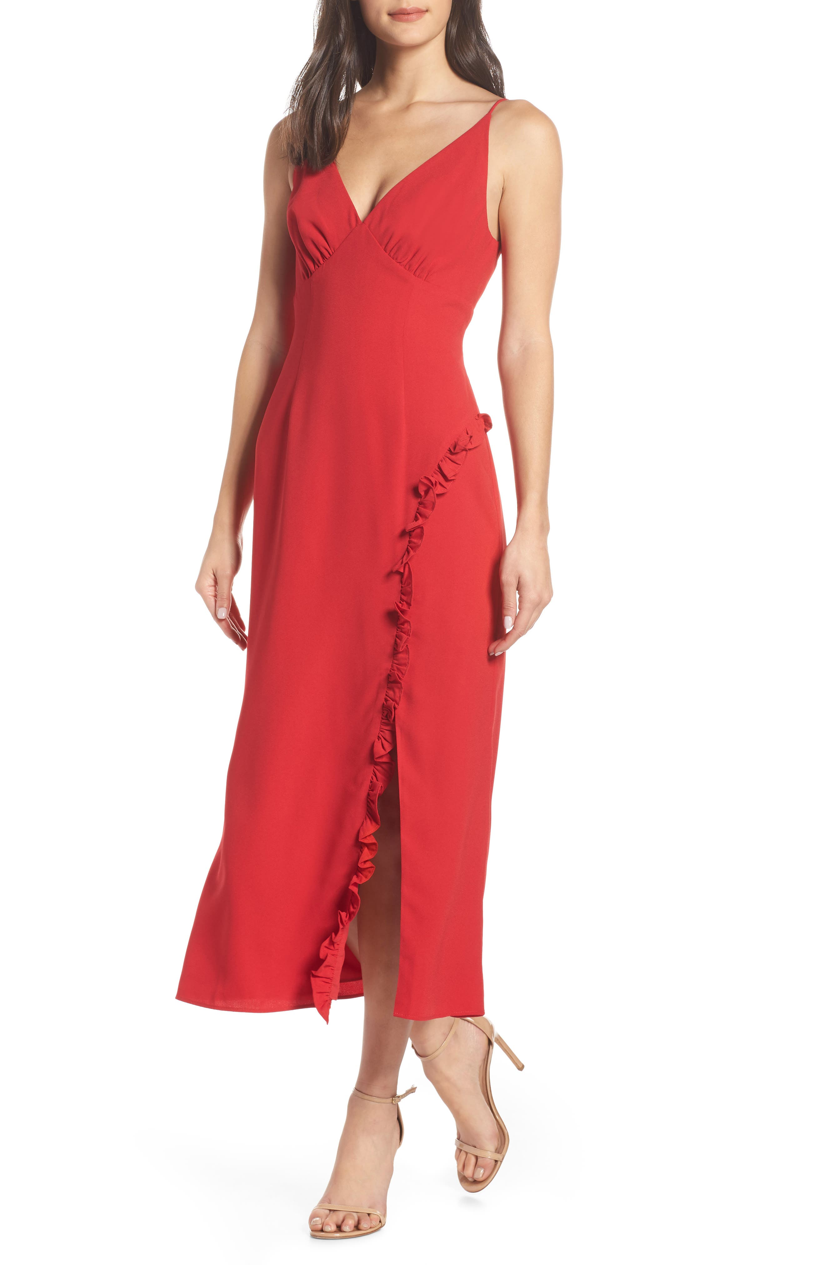 Keepsake The Label Forget You Tea Length Dress, Red