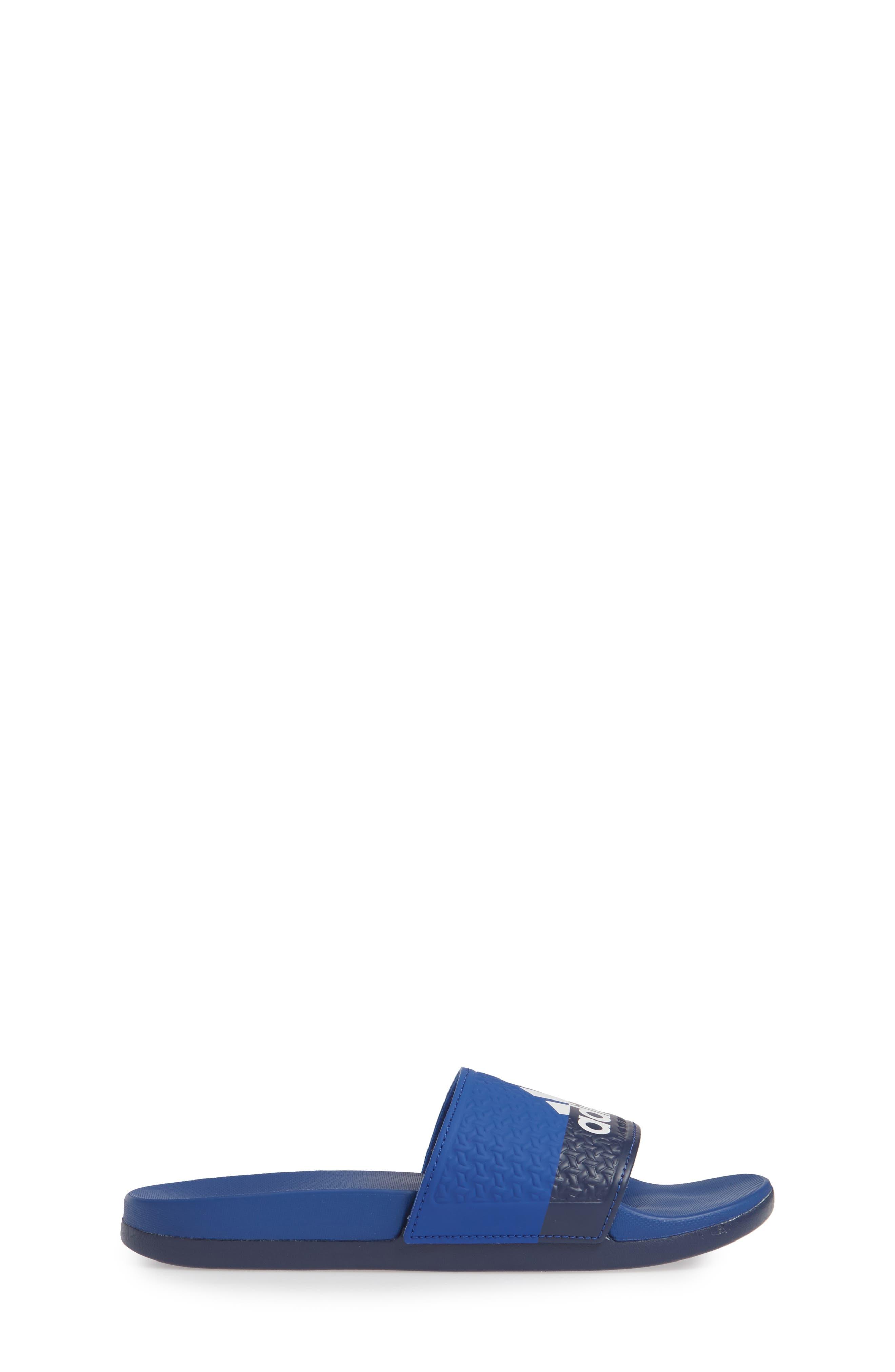 Adilette Slide Sandal,                             Alternate thumbnail 3, color,                             COLLEGIATE ROYAL/ WHITE/ BLUE
