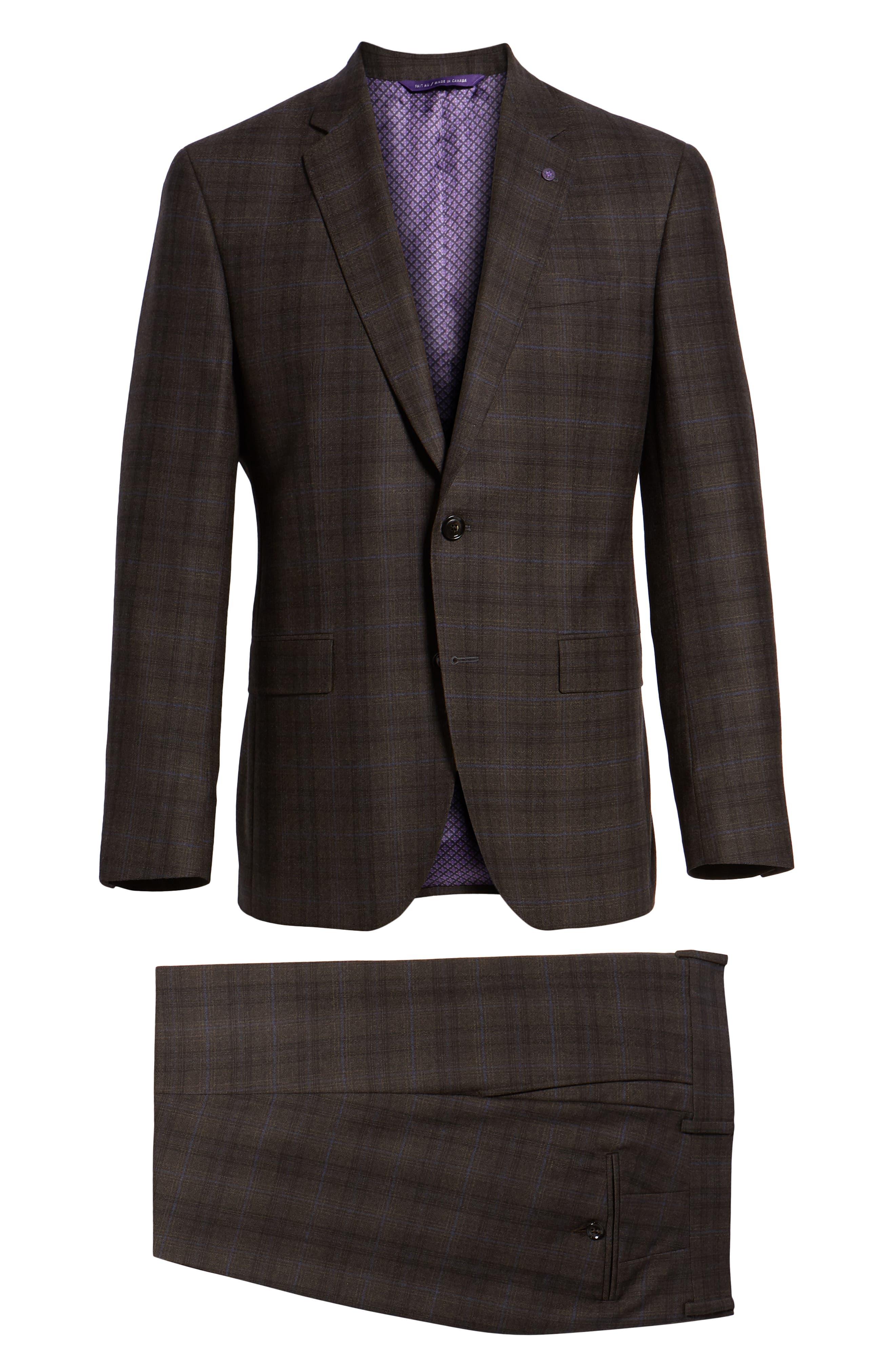 Jay Trim Fit Plaid Wool Suit,                             Alternate thumbnail 8, color,                             BROWN PLAID