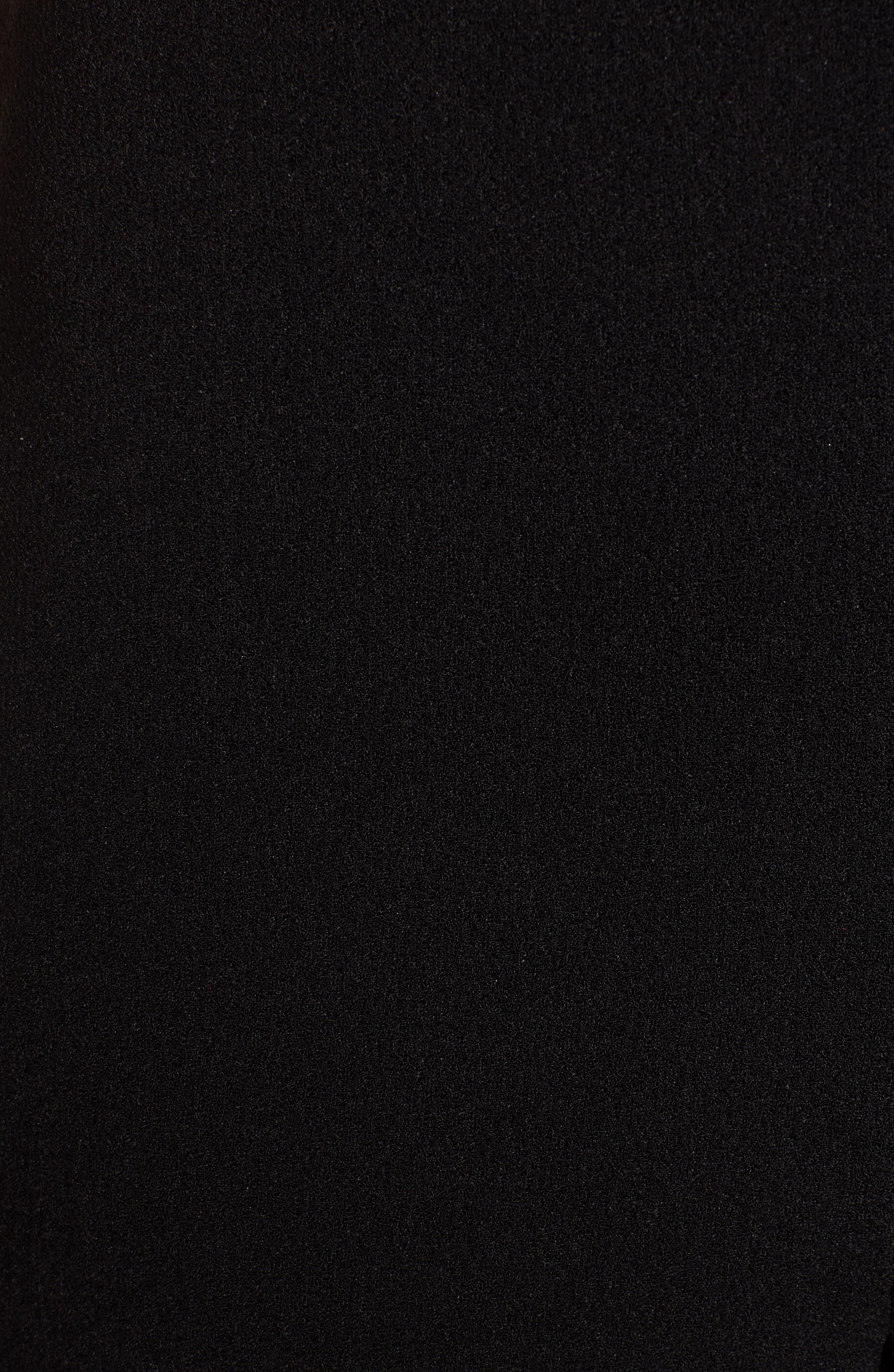 LEITH,                             Deep V-Neck Lace Trim Jumpsuit,                             Alternate thumbnail 6, color,                             BLACK