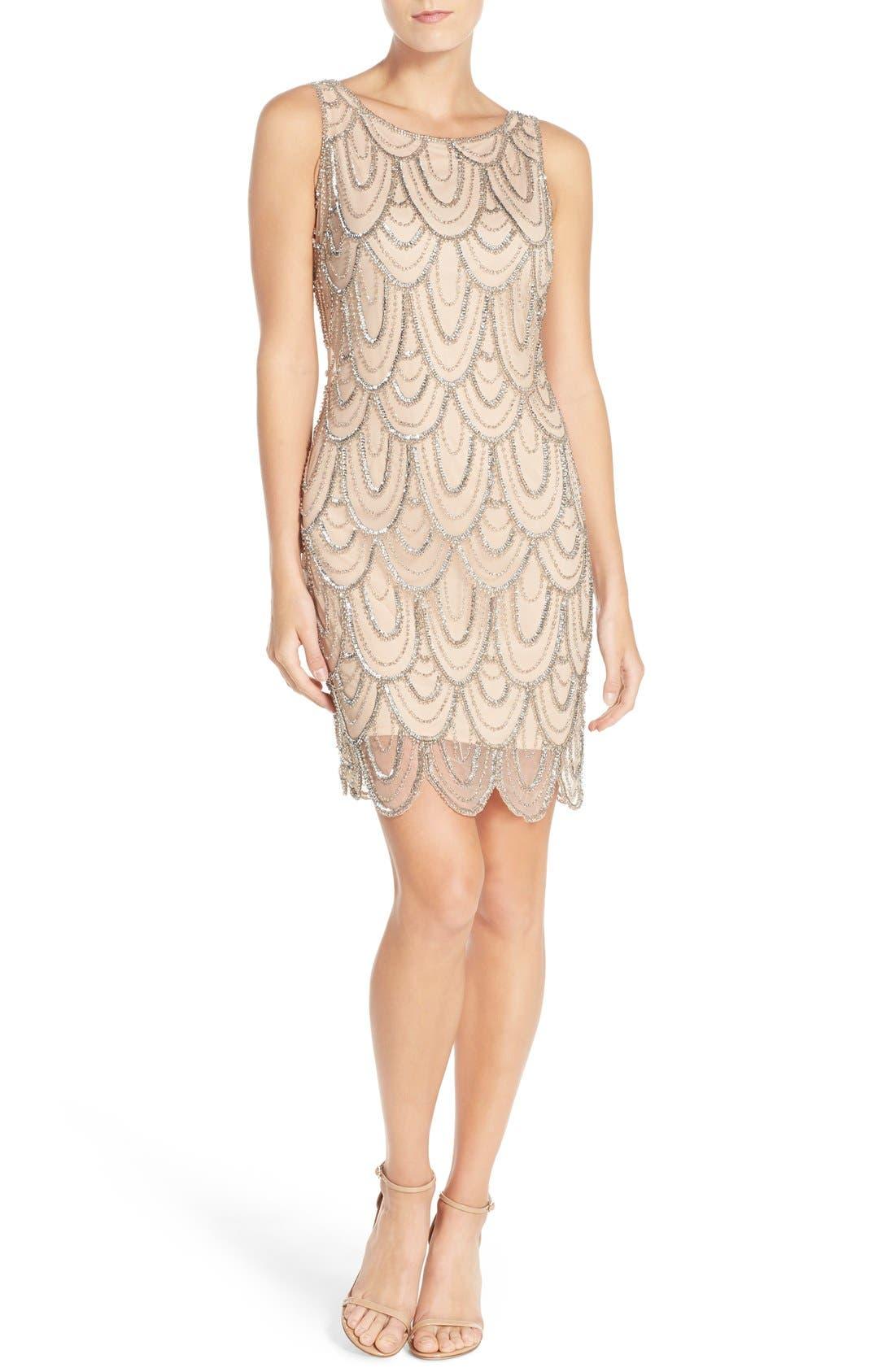 Embellished Mesh Sheath Dress,                             Alternate thumbnail 39, color,