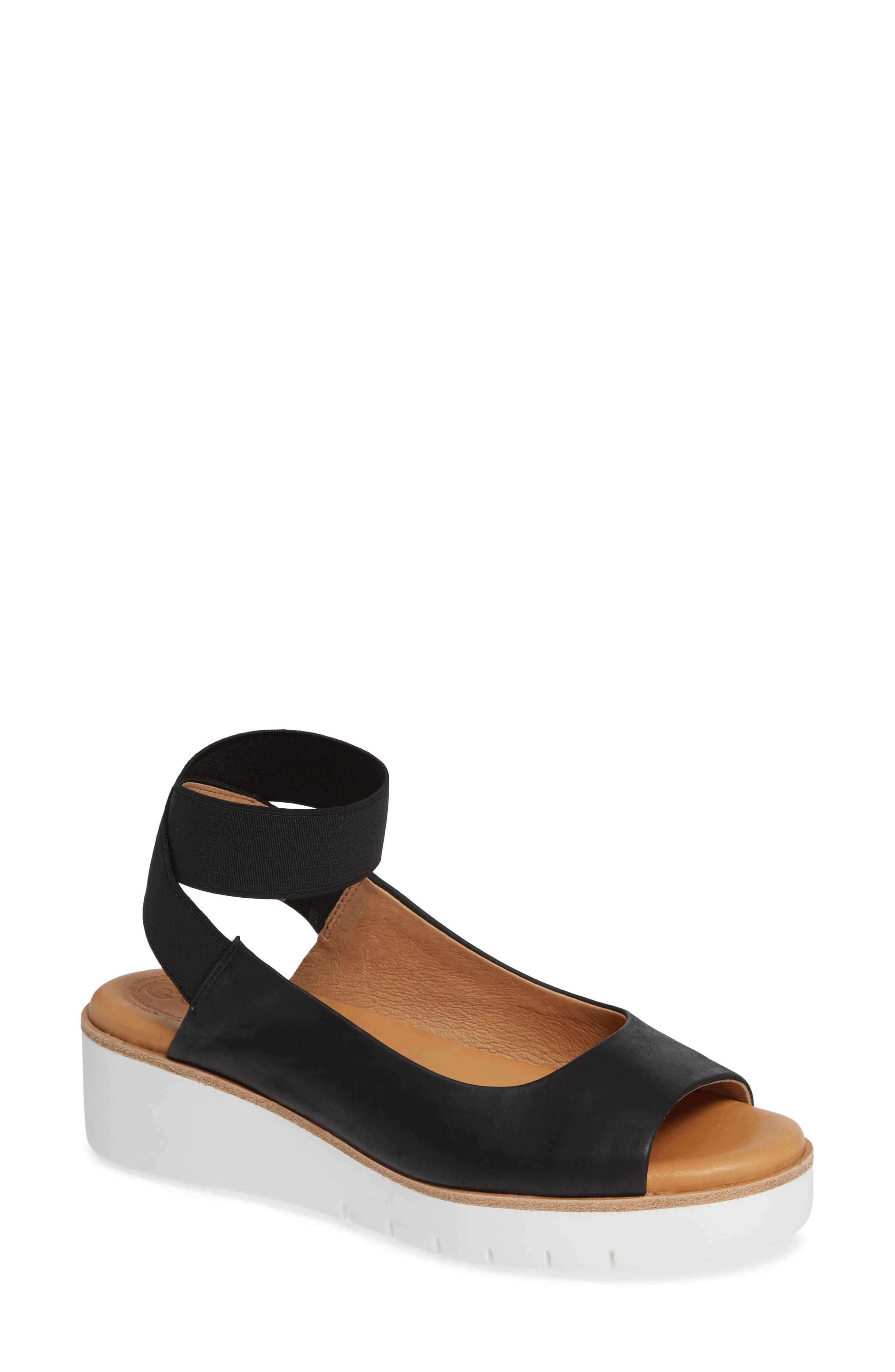Beeata Wedge Sandal,                         Main,                         color, BLACK LEATHER