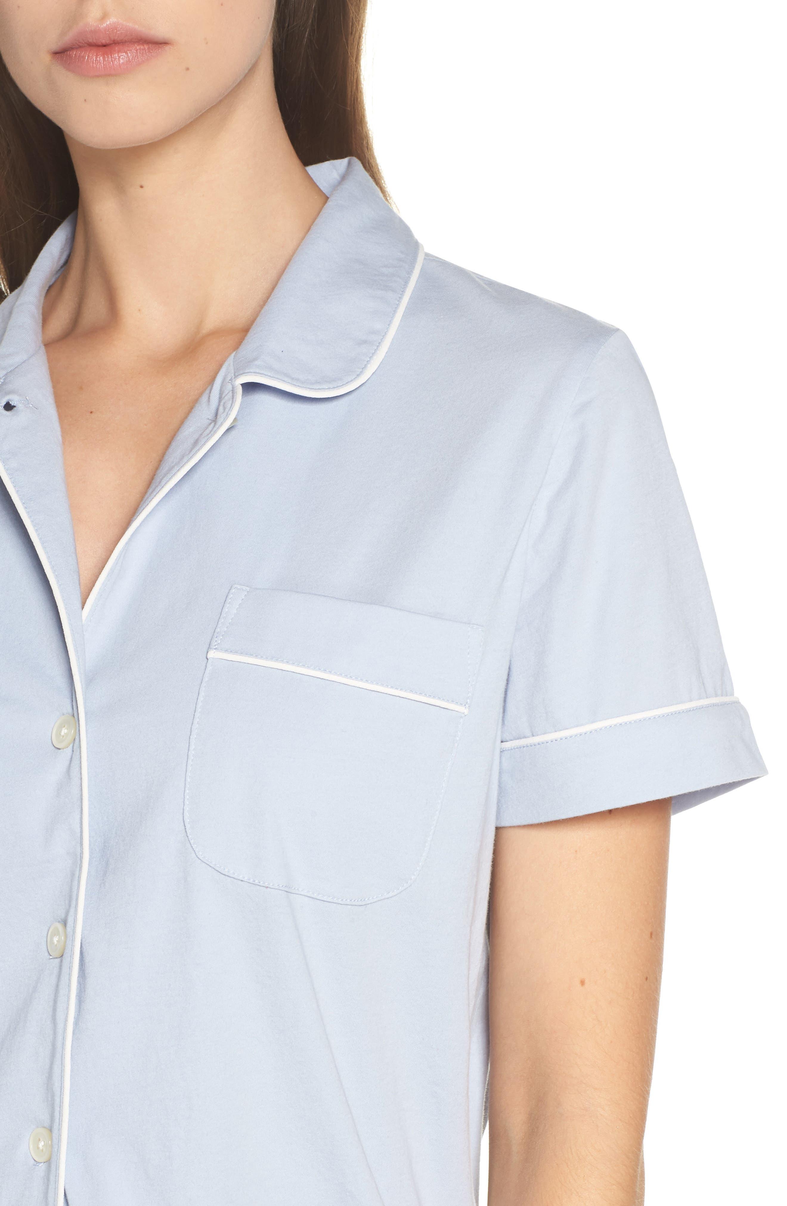 Short Sleeve Knit Pajamas,                             Alternate thumbnail 4, color,                             PERI SHADOW