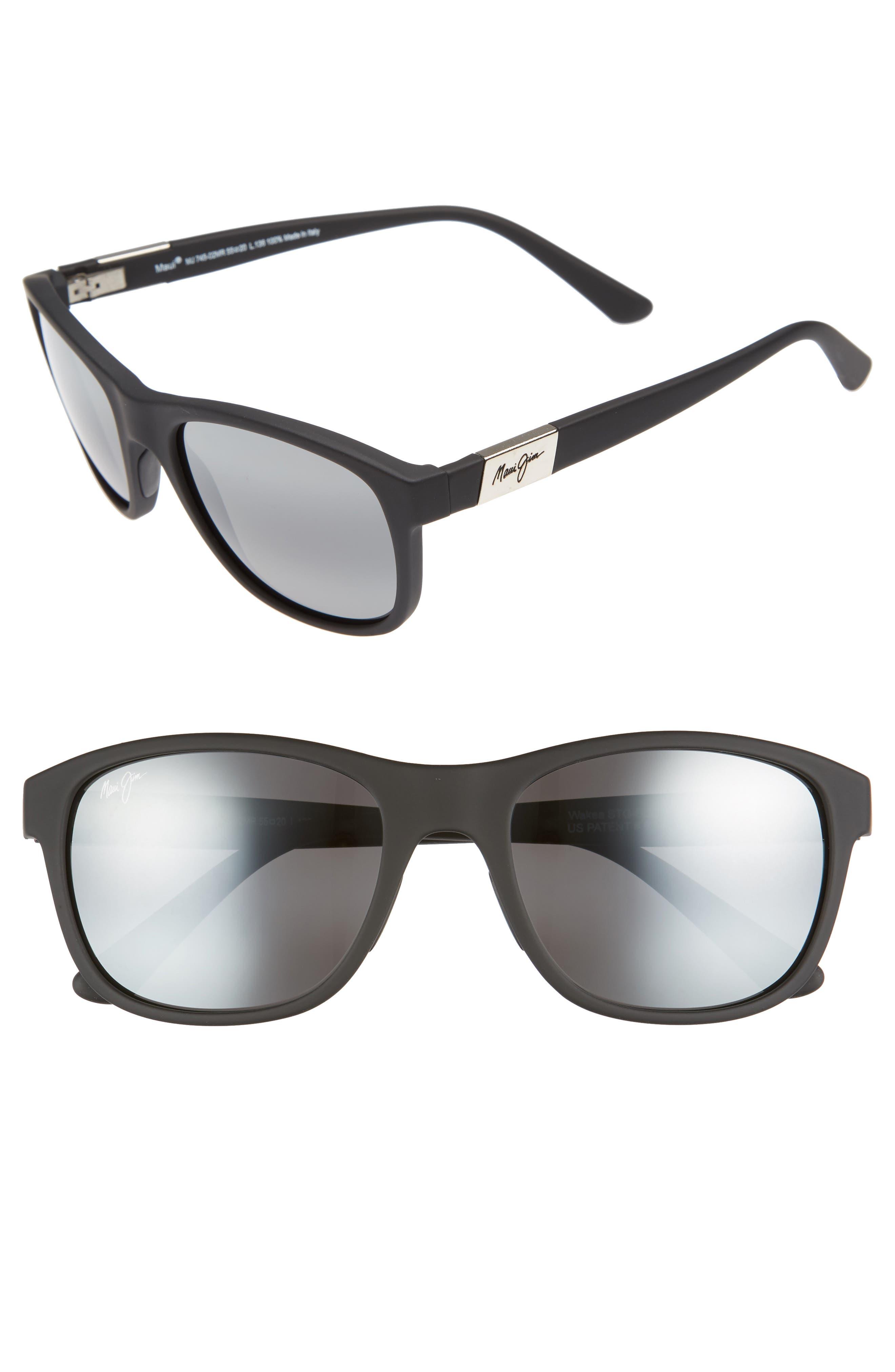 Maui Jim Wakea 55Mm Polarized Sunglasses - Matte Black/ Neutral Grey