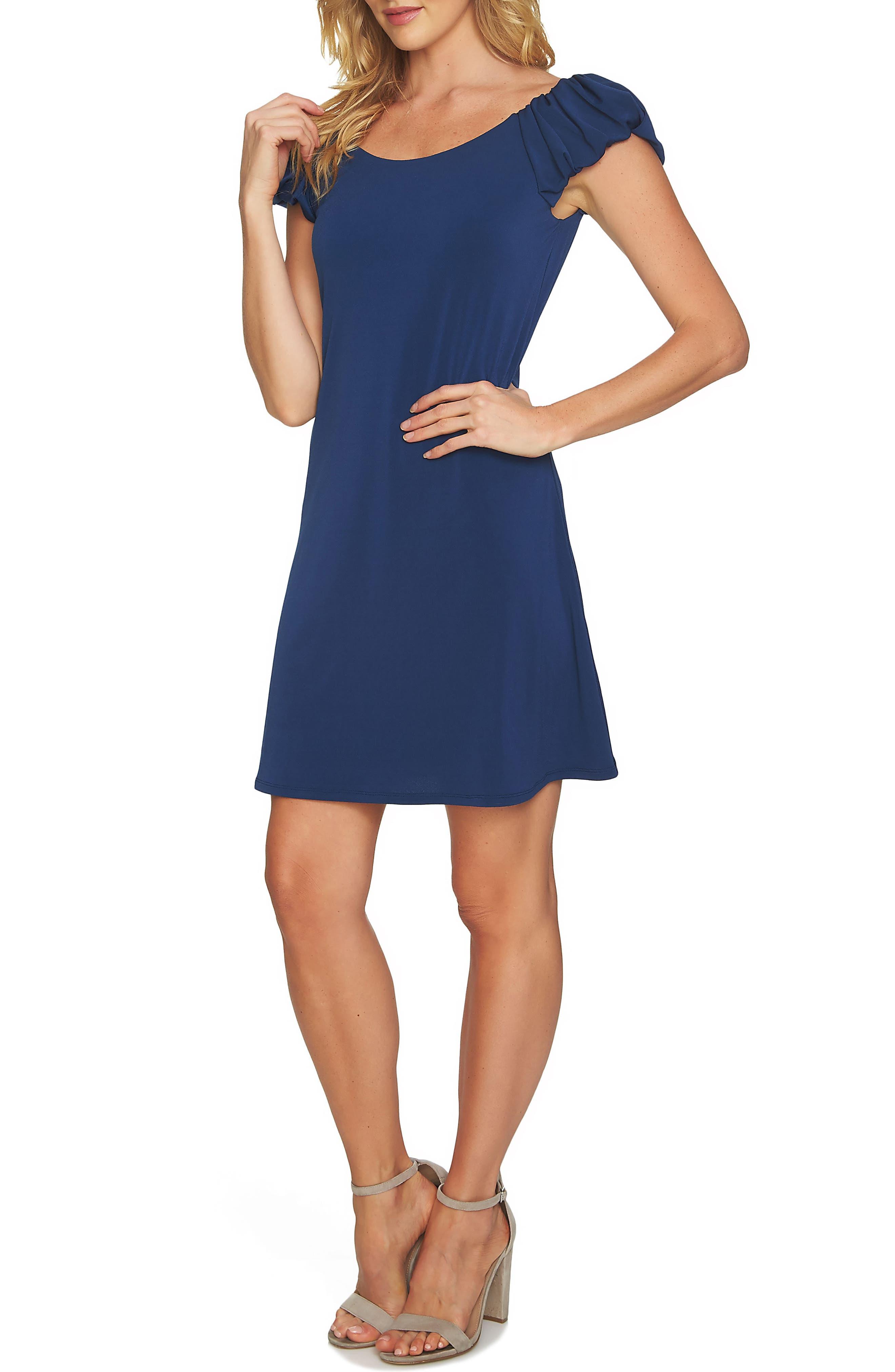 Puffed Sleeve Crepe Knit Dress,                         Main,                         color,