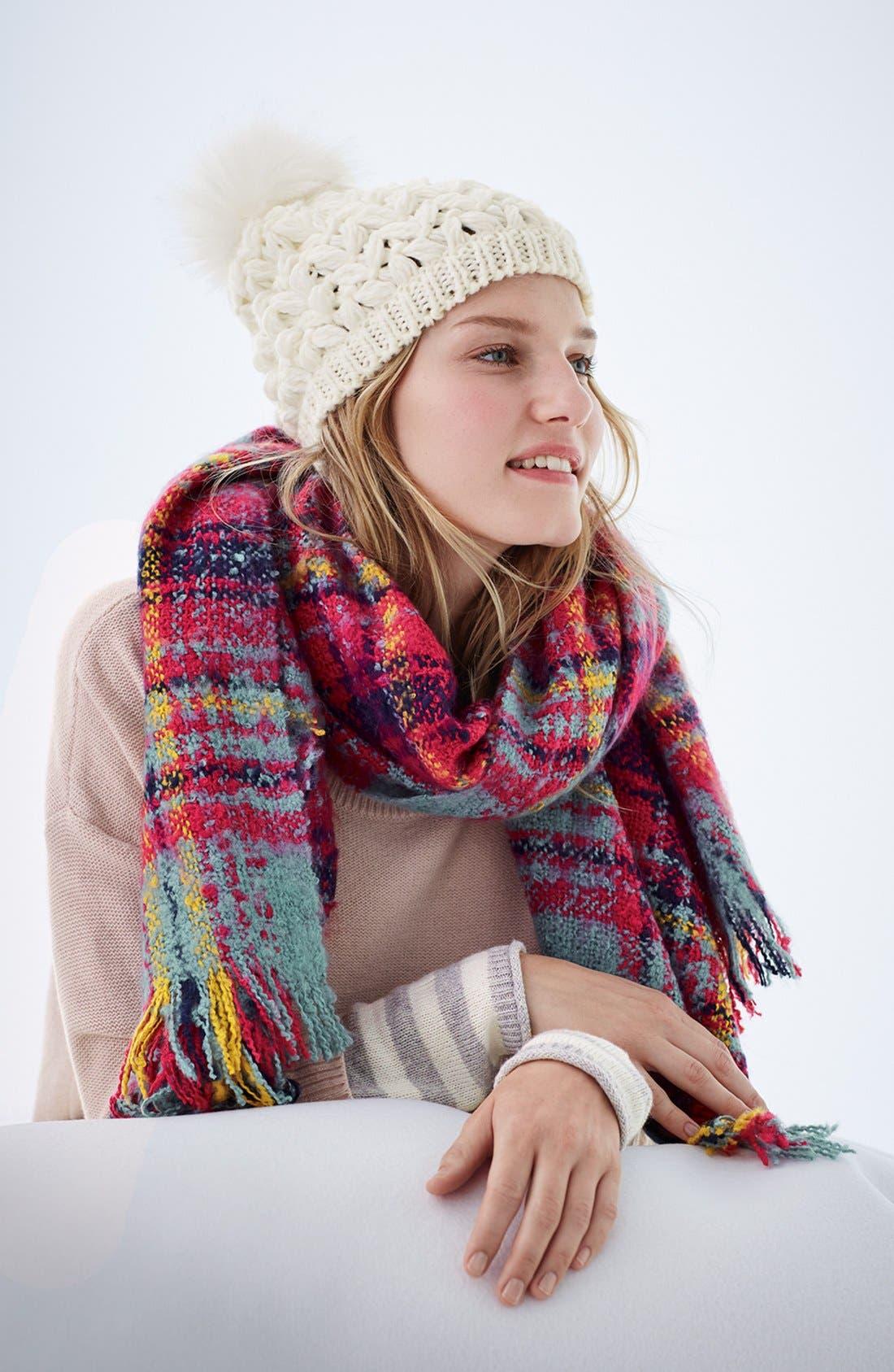 Crochet Pompom Beanie,                             Alternate thumbnail 2, color,                             001