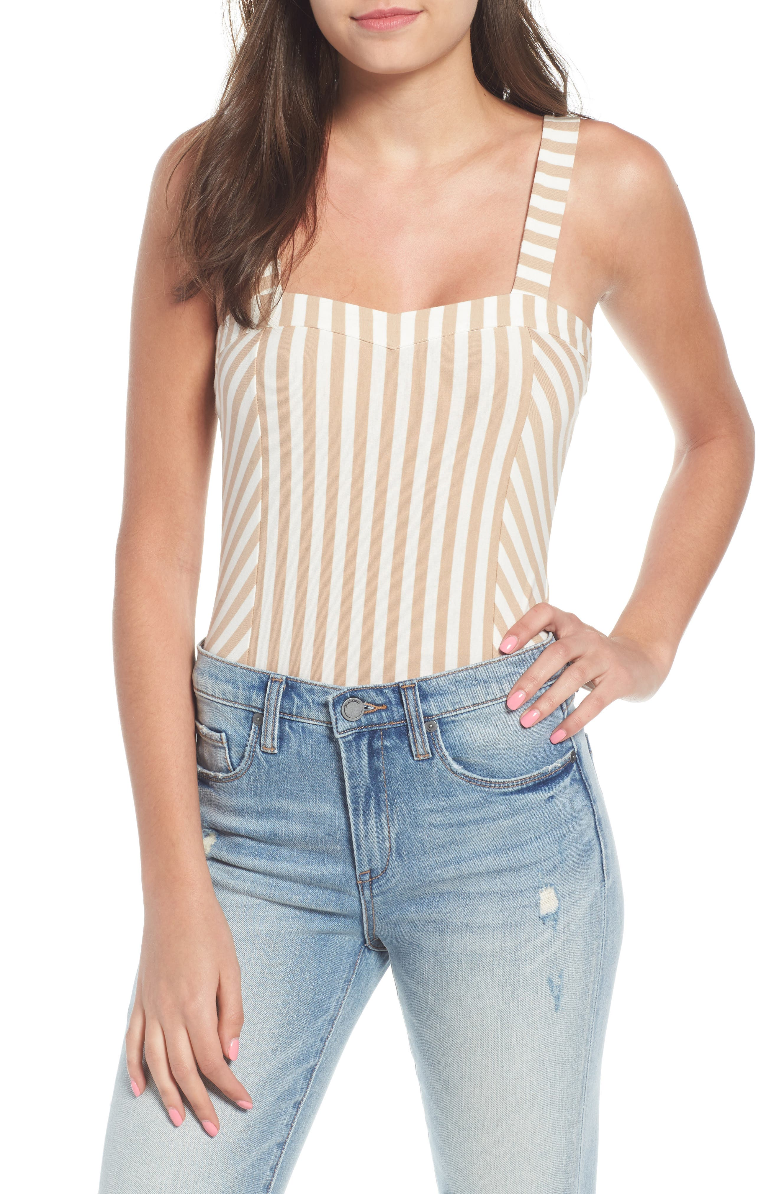 Stripe Bodysuit,                         Main,                         color, 260