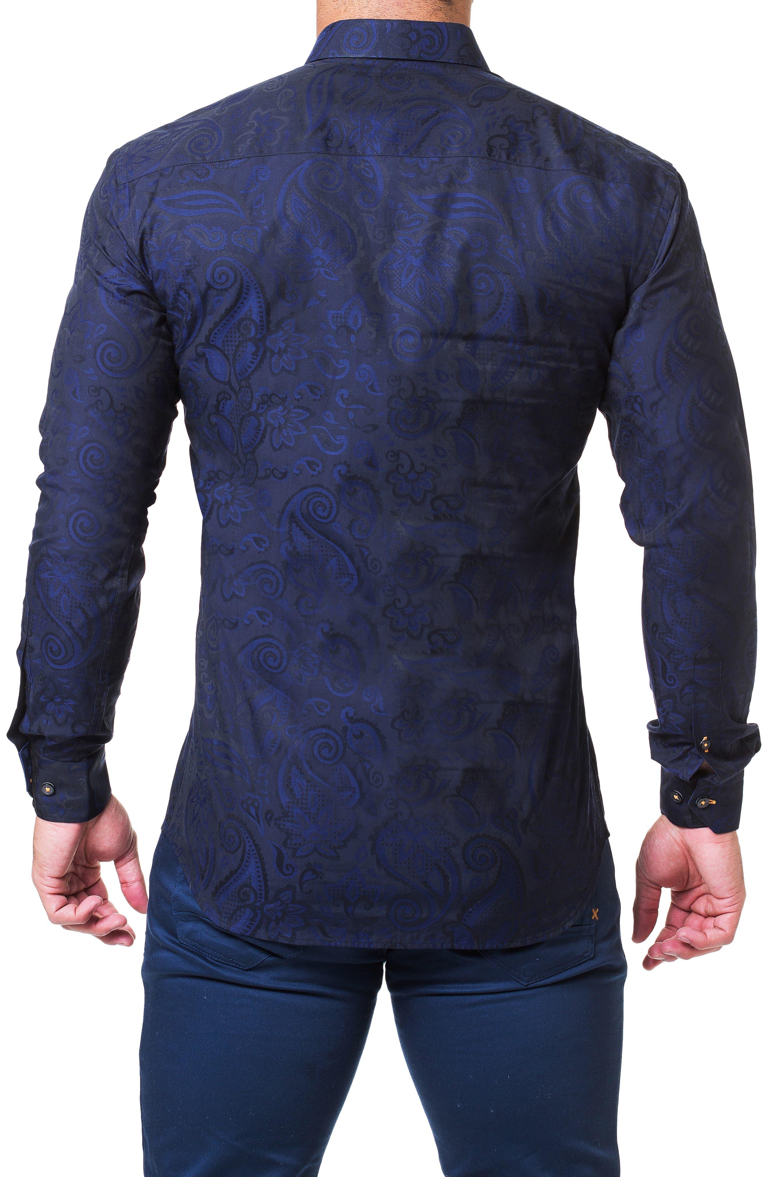 Fibonacci Paisley Trim Fit Sport Shirt,                             Alternate thumbnail 2, color,                             BLUE