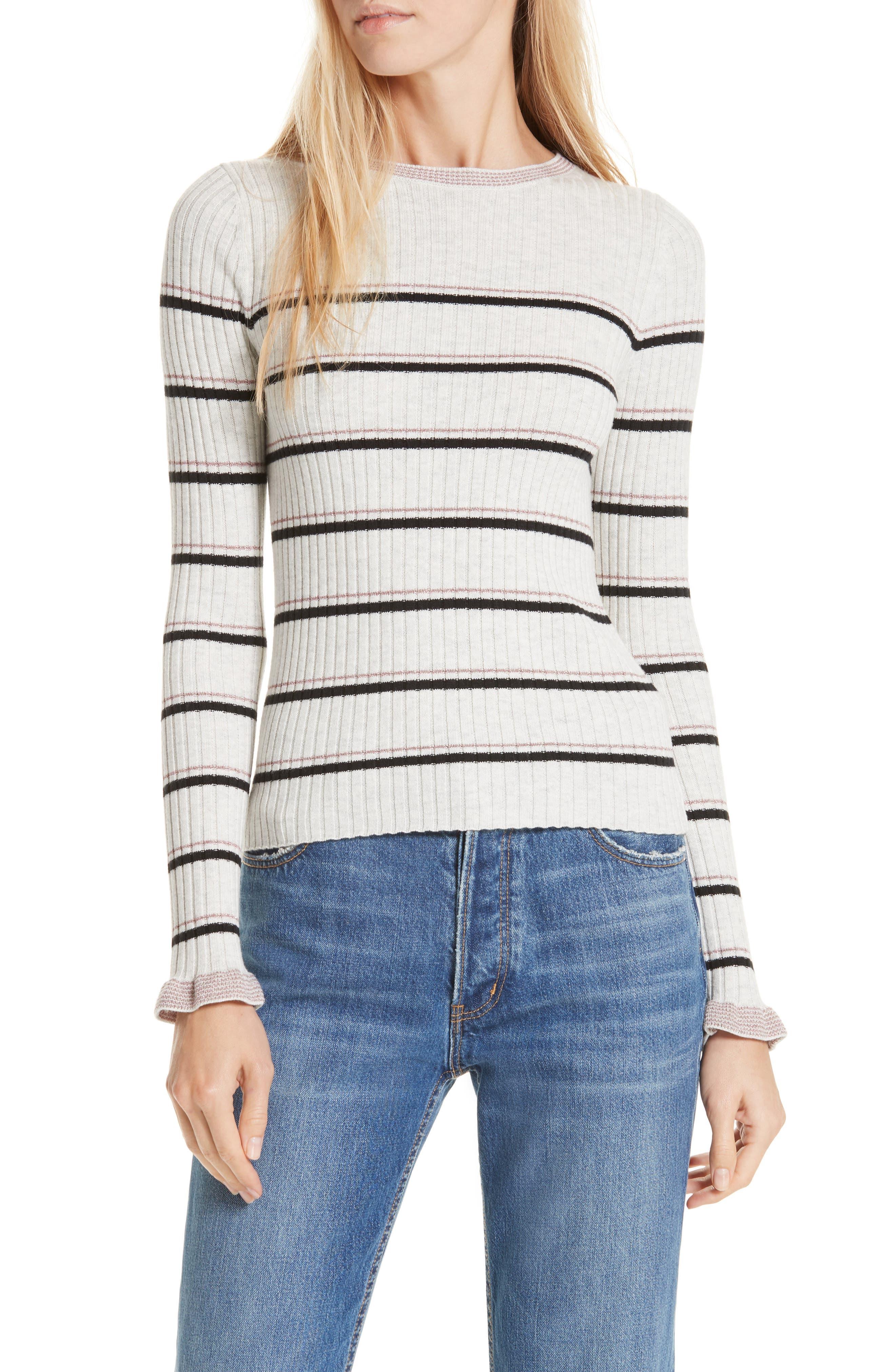 La Vie Rebecca Taylor Cotton Wool Blend Stripe Sweater, Grey