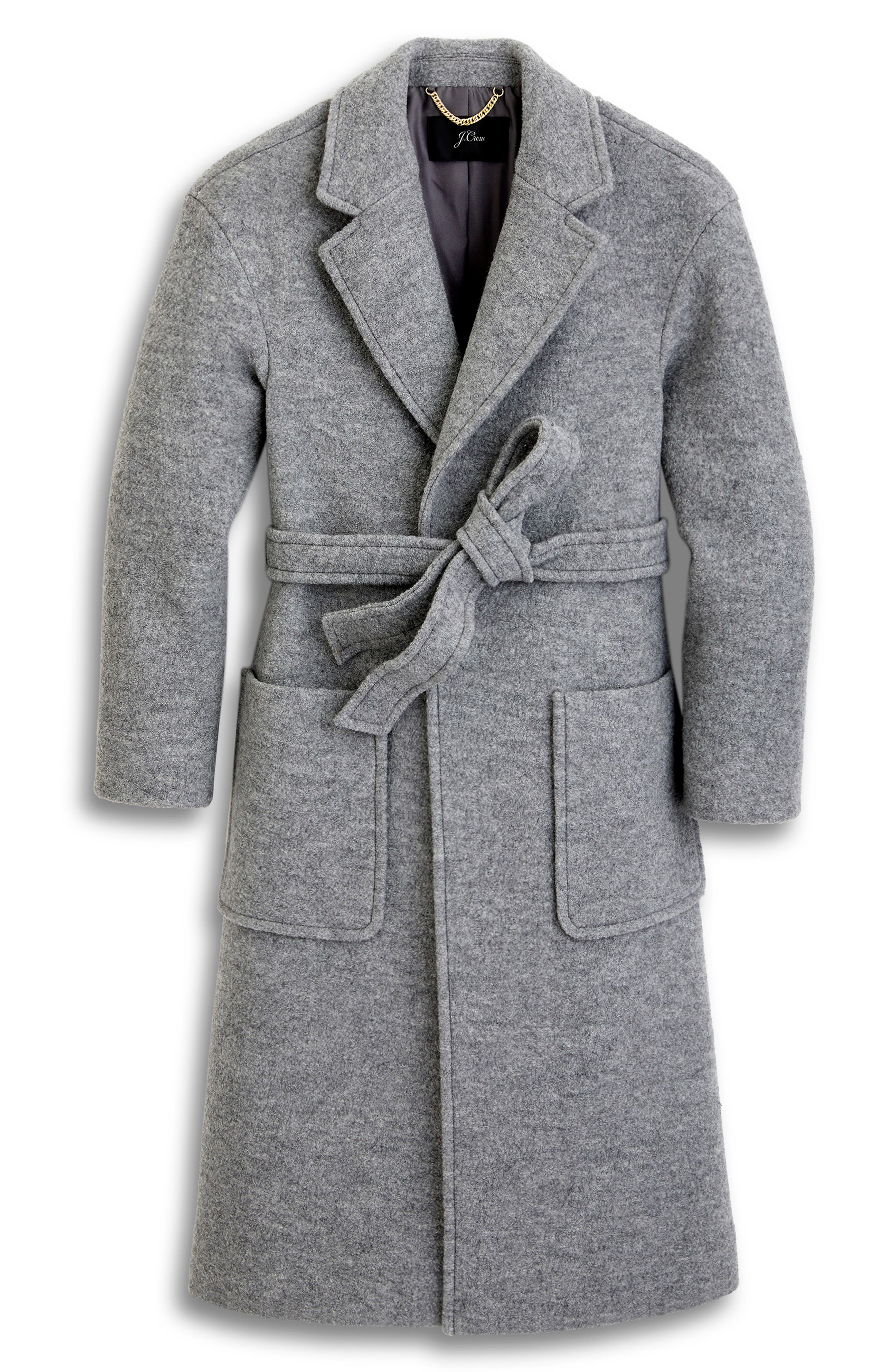 Long Wrap Coat in Italian Boiled Wool,                             Main thumbnail 1, color,                             SNOWY CEMENT