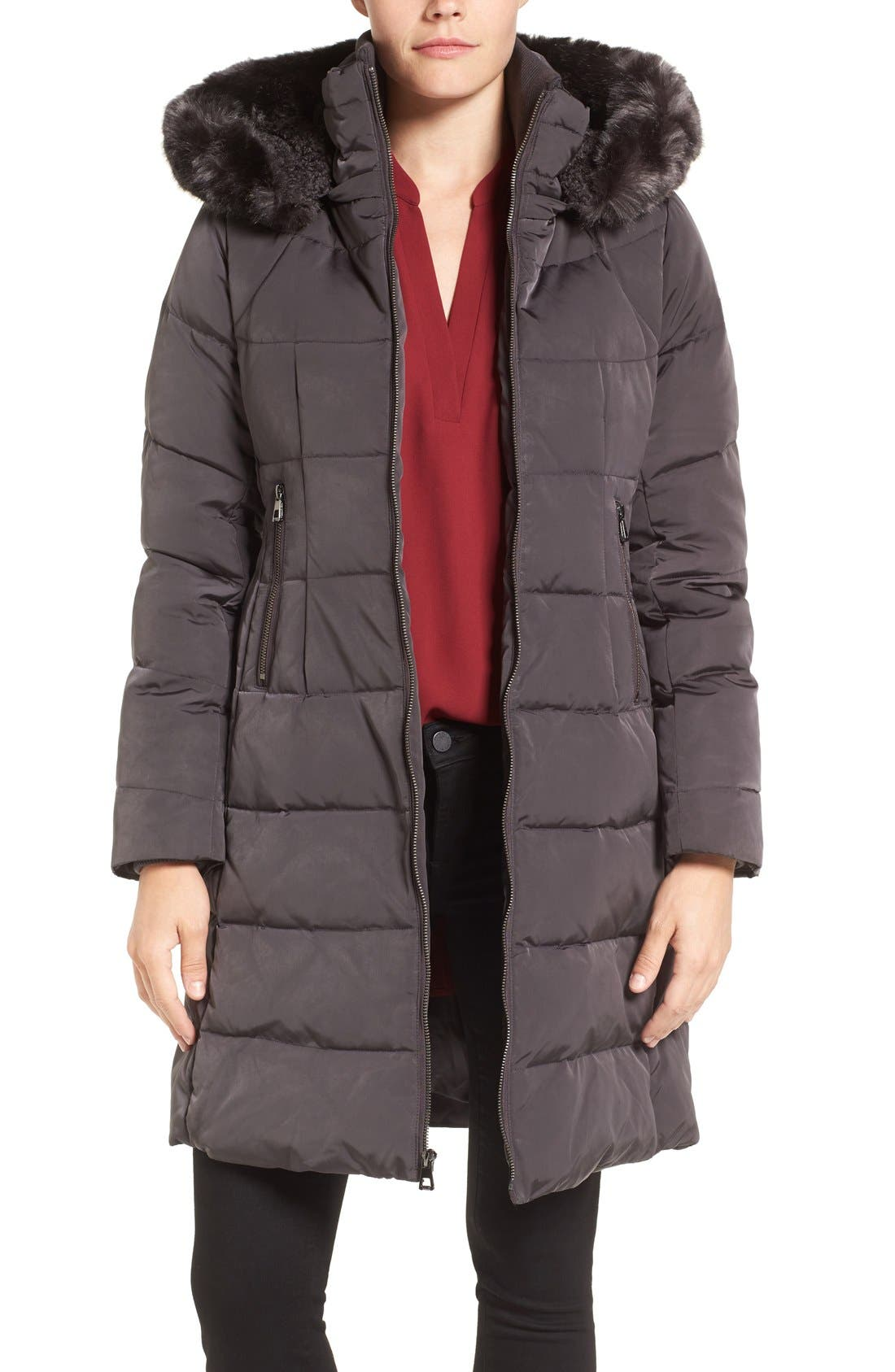 Down & Feather Fill Coat with Faux Fur Trim Hood,                             Main thumbnail 3, color,