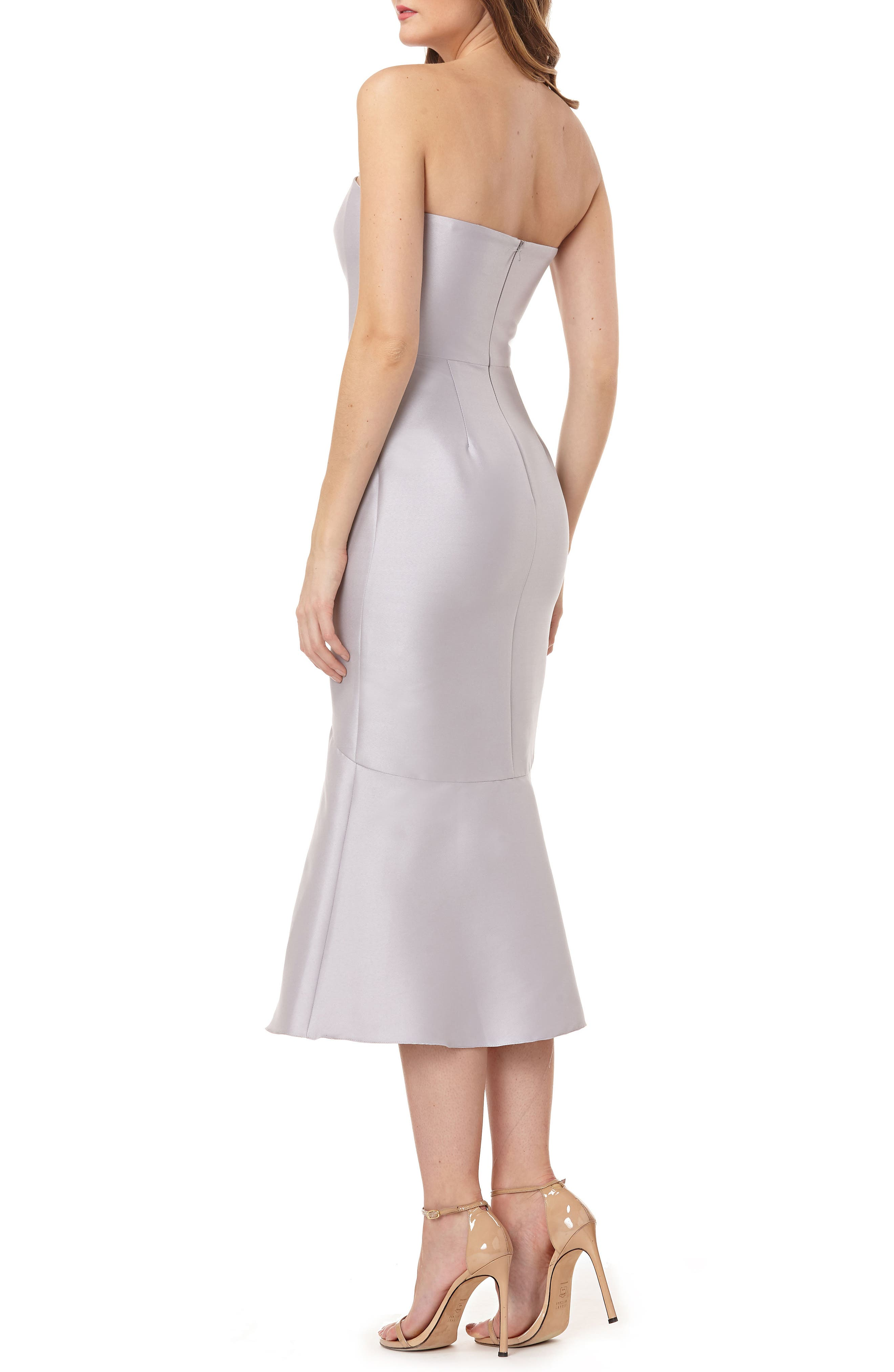 Strapless Satin Tea Length Dress,                             Alternate thumbnail 2, color,                             DOVE GREY